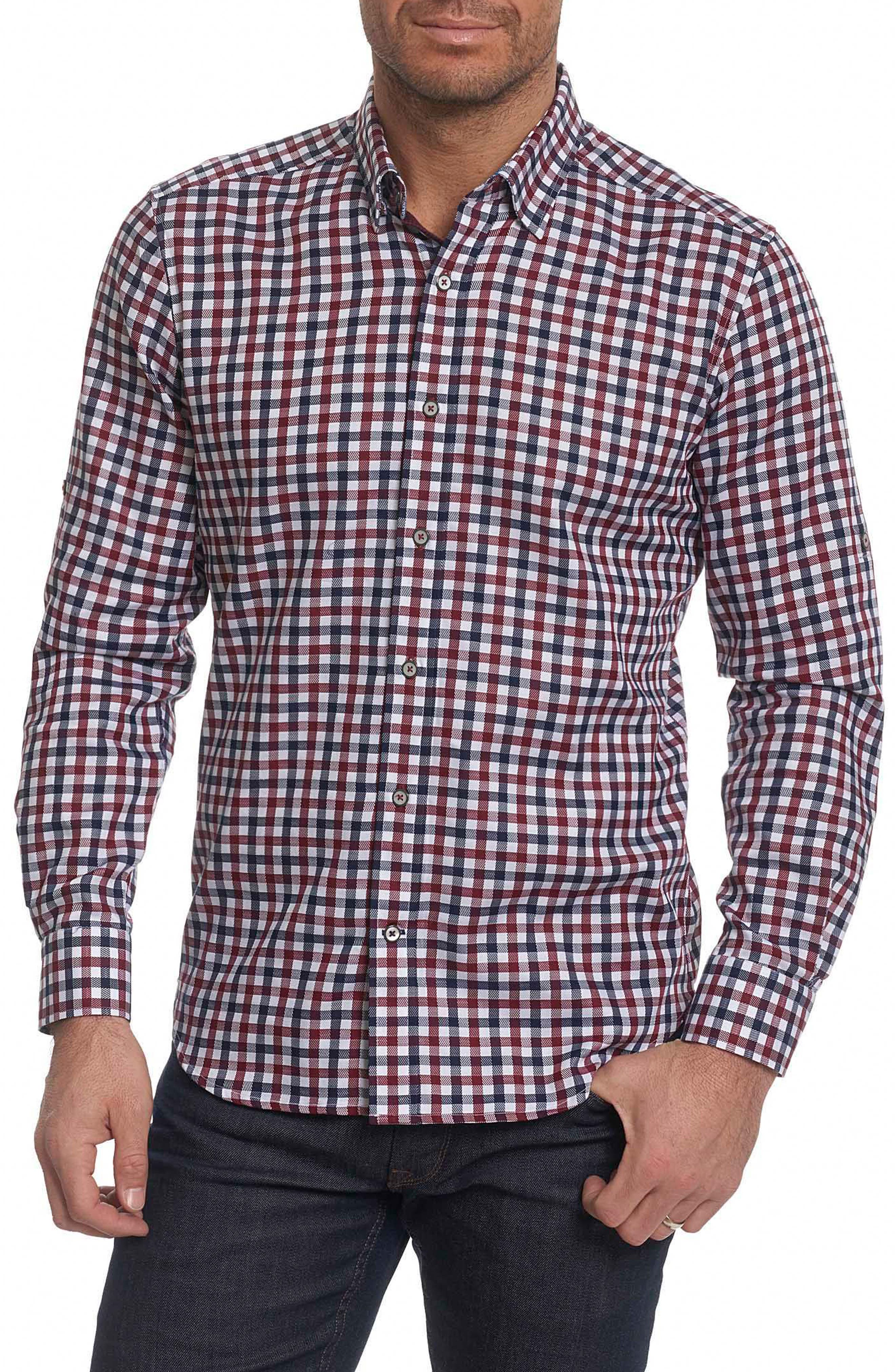 Travis Tailored Fit Check Sport Shirt,                         Main,                         color, Burgundy