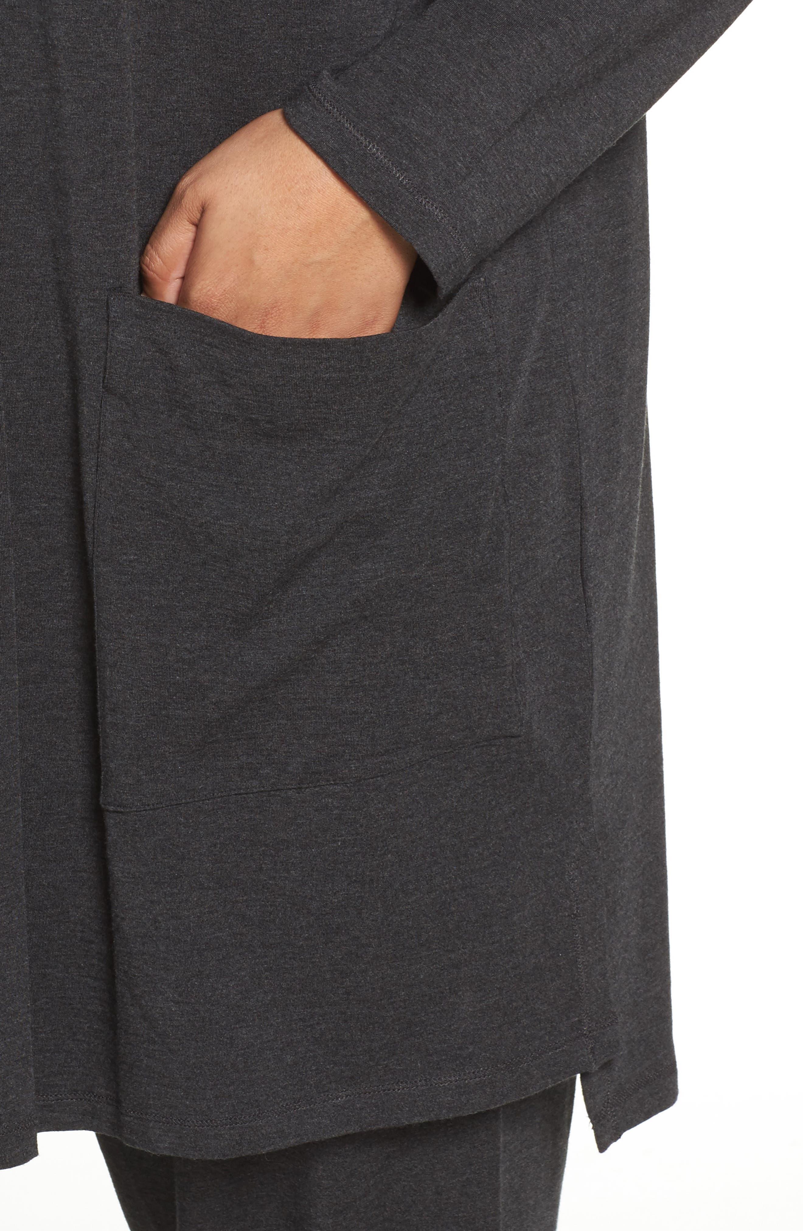 Long Kimono Cardigan,                             Alternate thumbnail 4, color,                             Charcoal