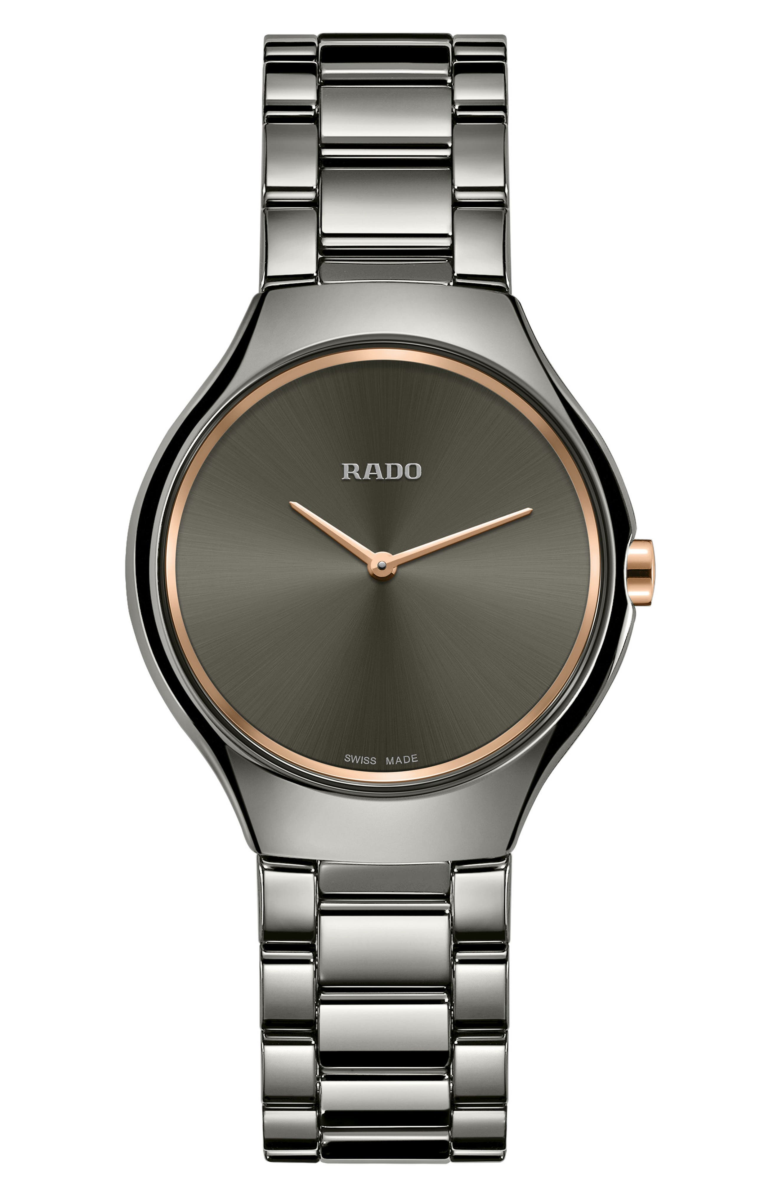 True Thinline Ceramic Bracelet Watch, 30mm,                         Main,                         color, Titanium/ Mop/ Titanium
