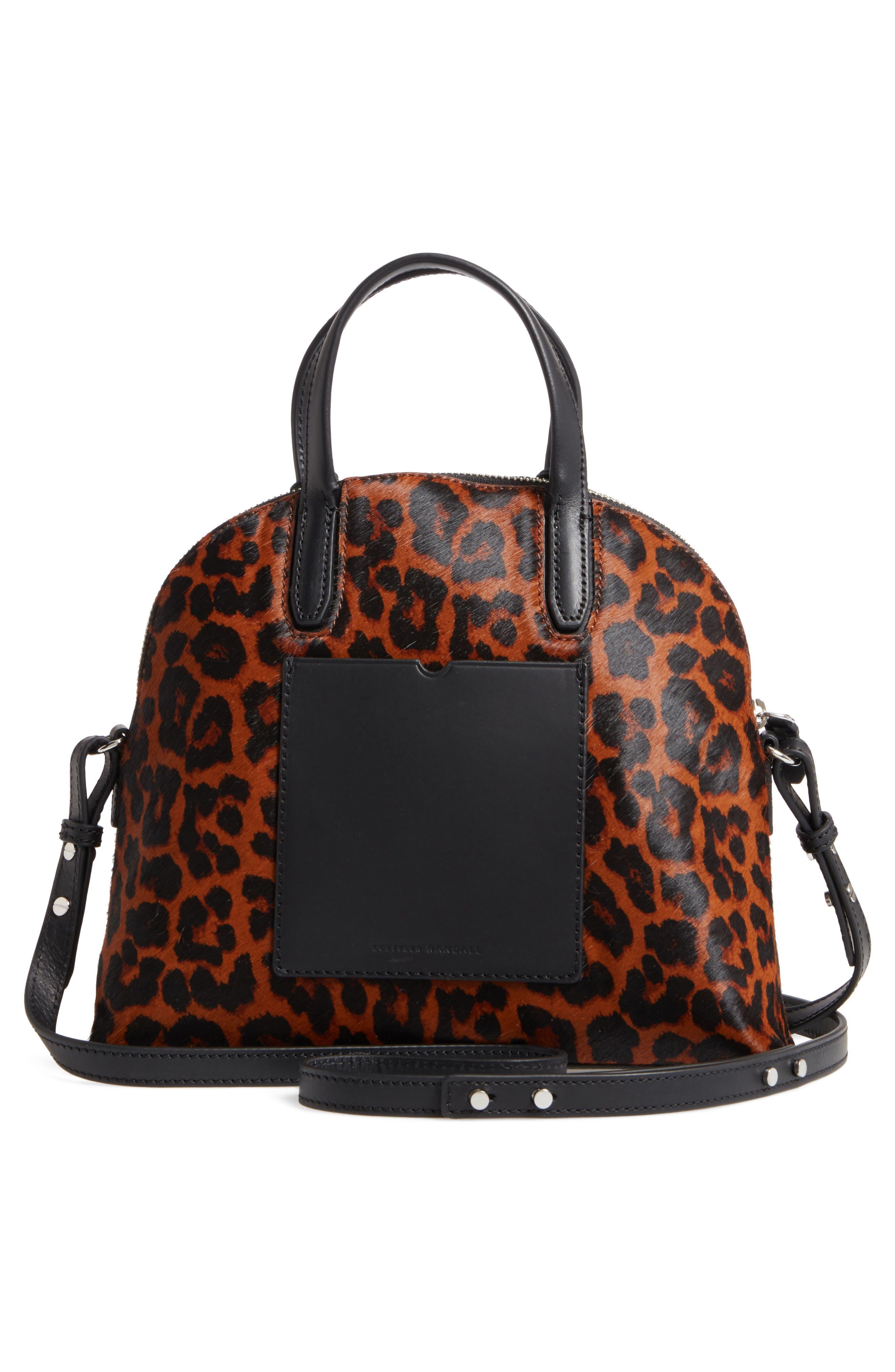 Genuine Calf Hair Dome Satchel,                             Alternate thumbnail 3, color,                             Leopard