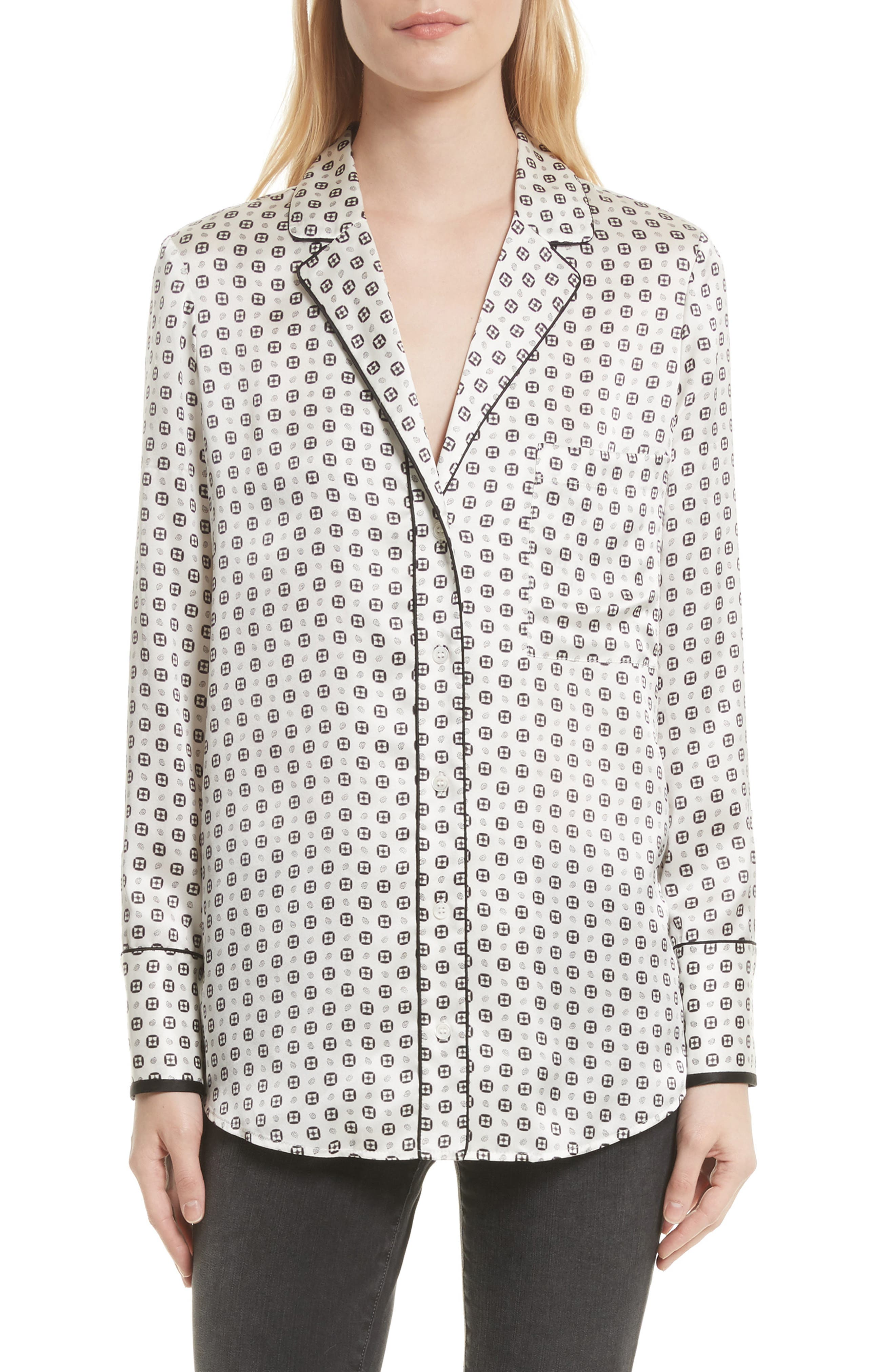 Paisley Silk PJ Blouse,                         Main,                         color, Charcoal Multi
