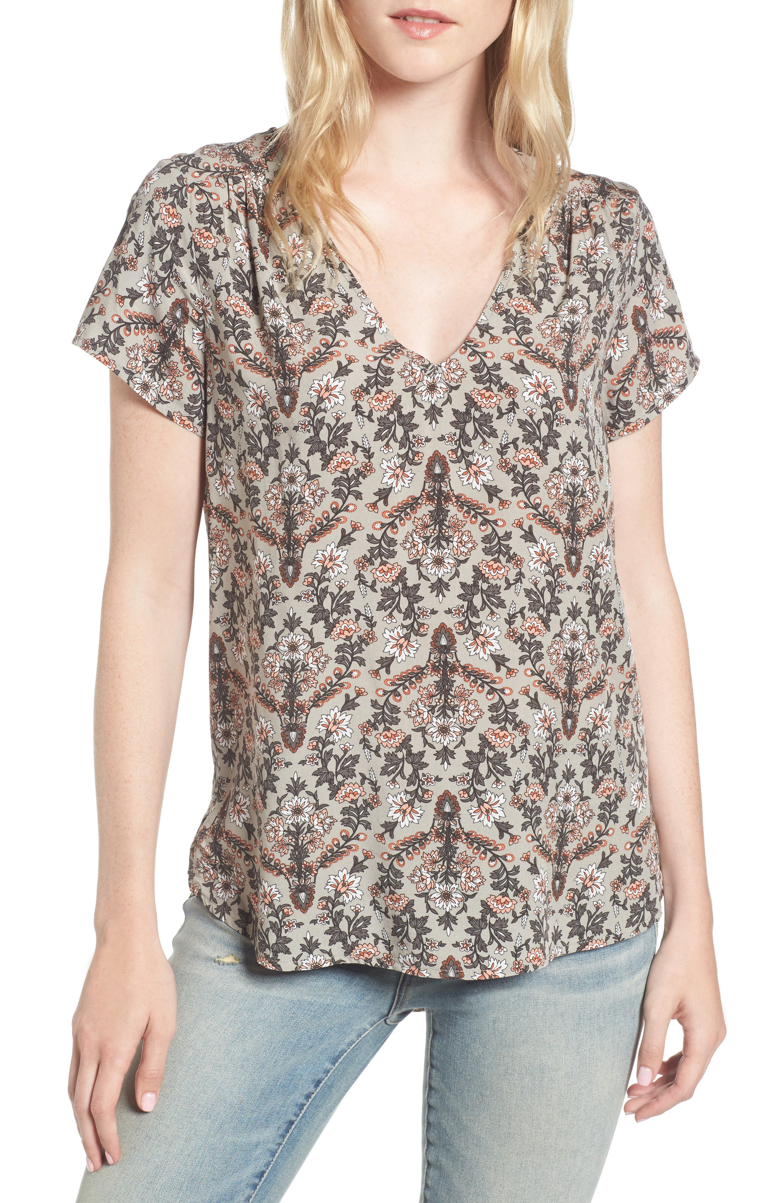 Alternate Image 1 Selected - Hinge Floral V-Neck Top