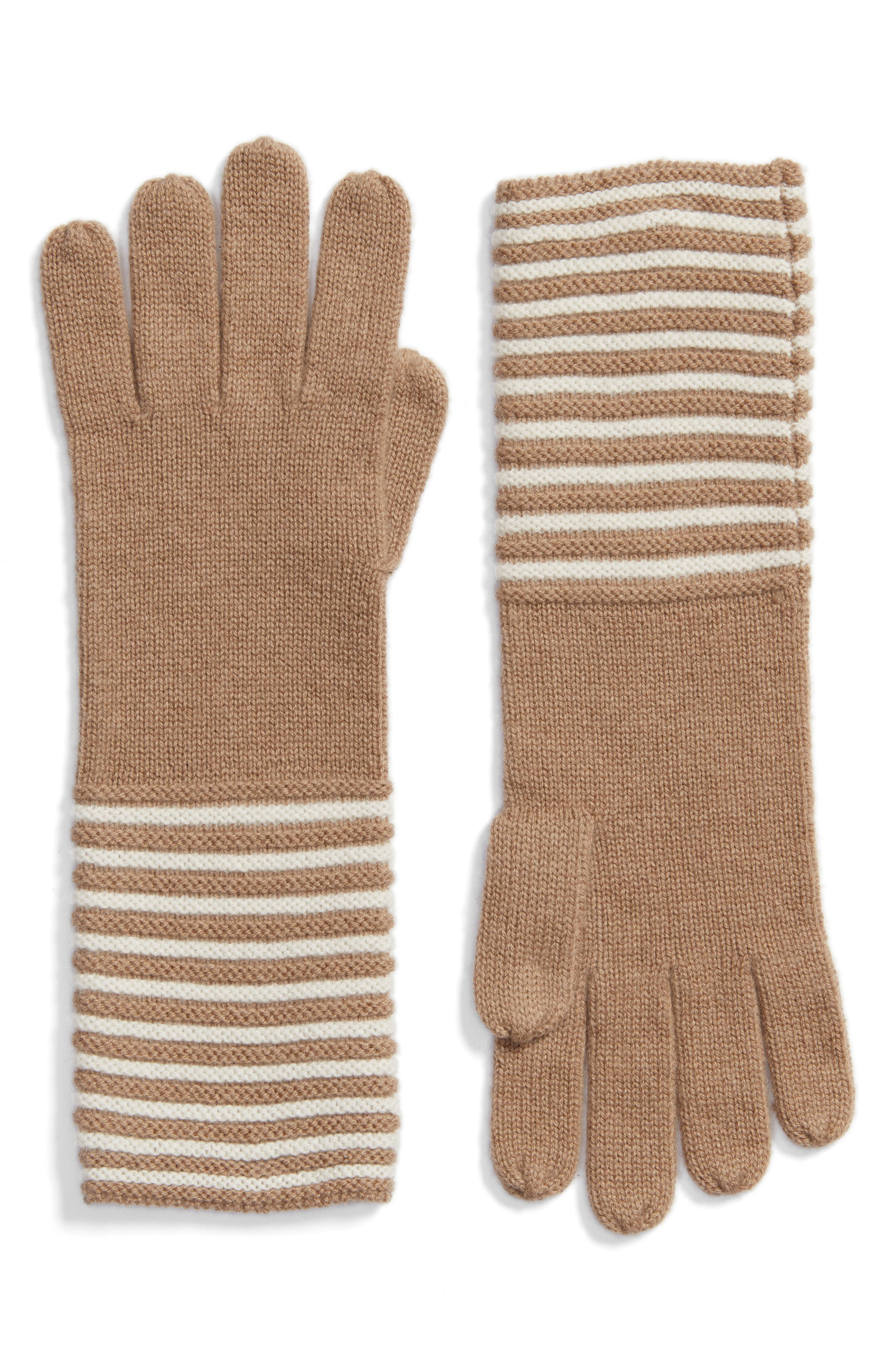 Double Links Wool & Cashmere Gloves,                             Main thumbnail 1, color,                             Dark Camel/ Cream
