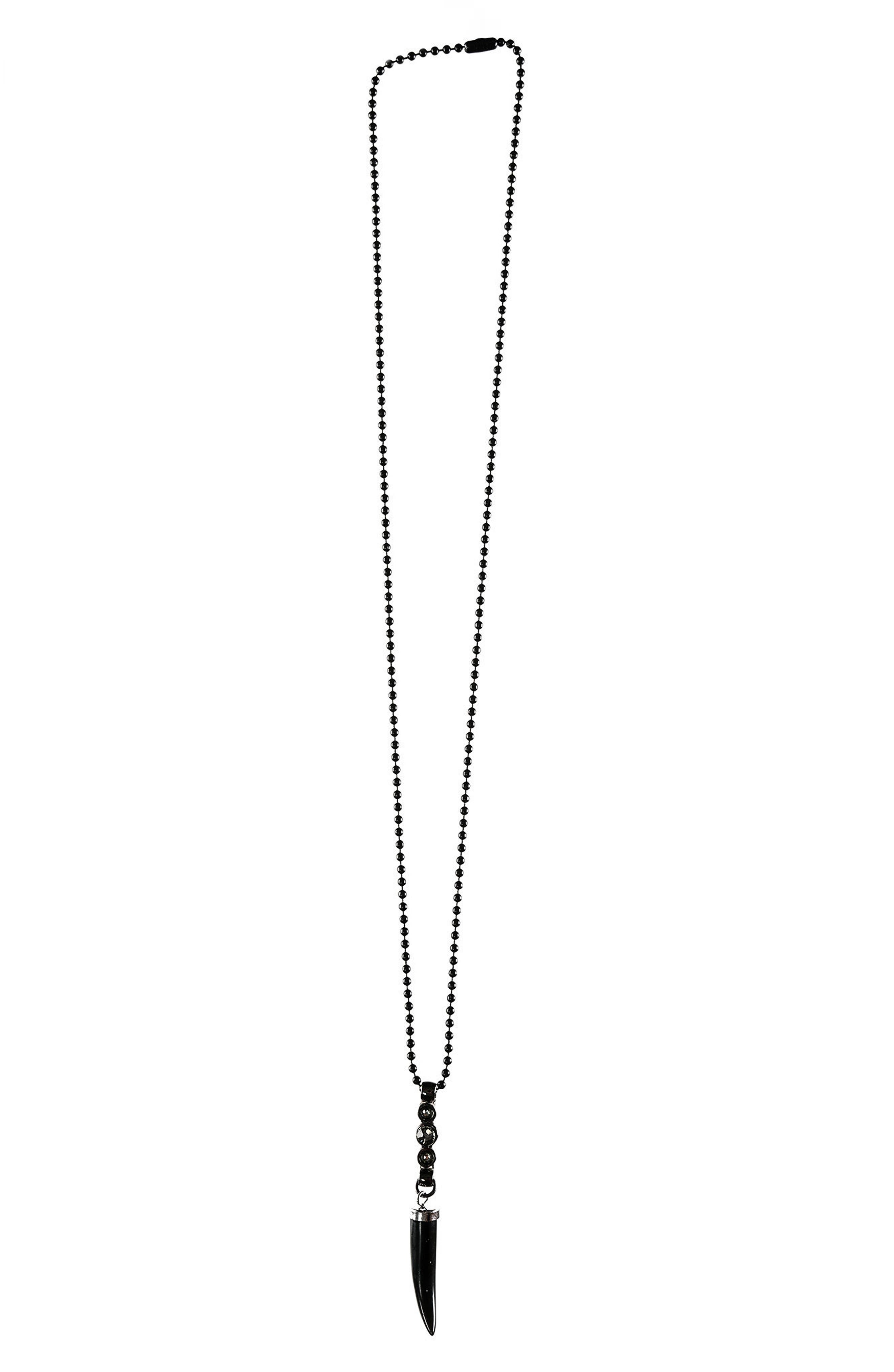 Horn Pendant Necklace,                             Main thumbnail 1, color,                             Black Giamond Crystal Agate