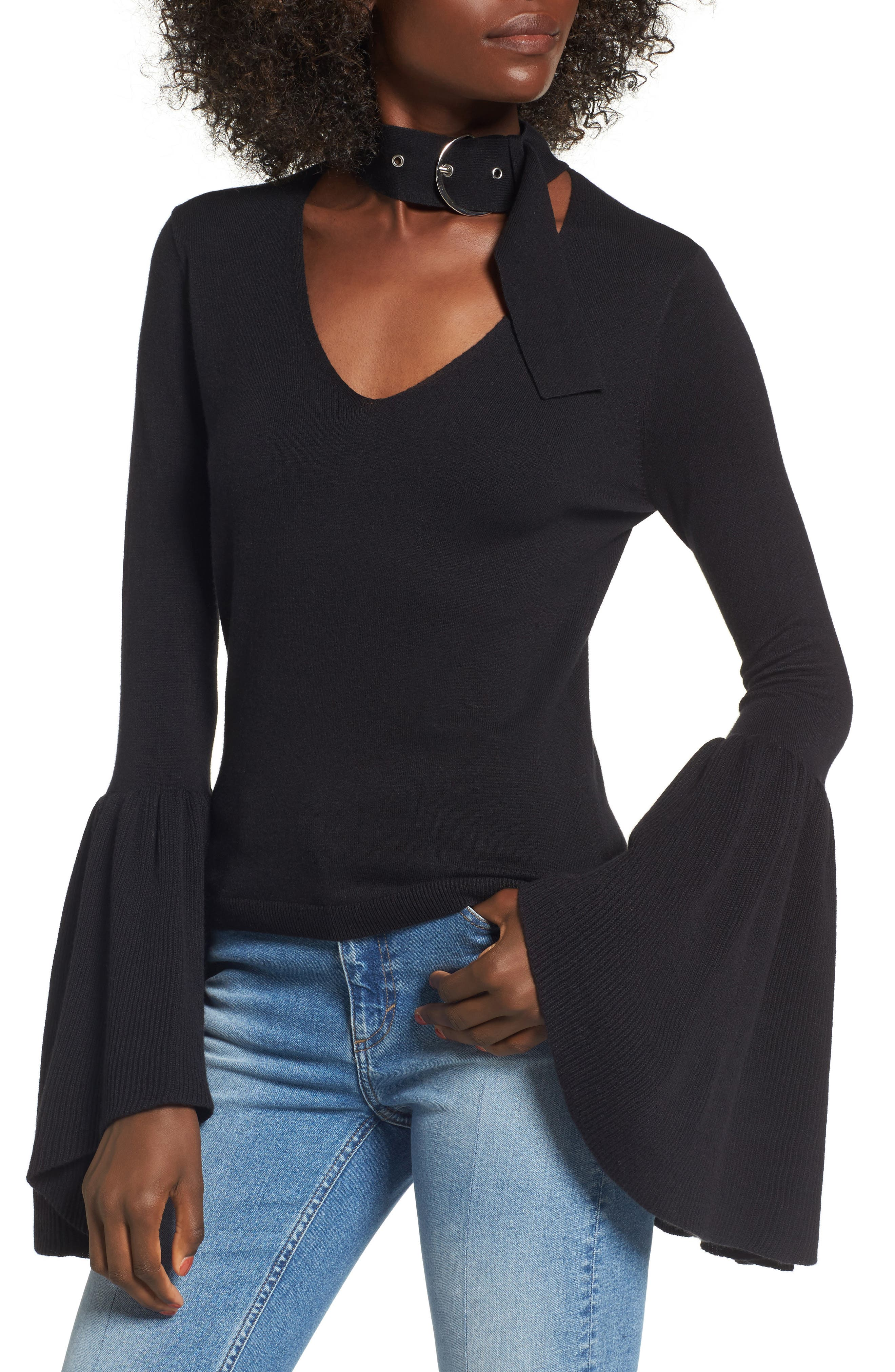 Buckled Choker Bell Sleeve Sweater,                         Main,                         color, Black