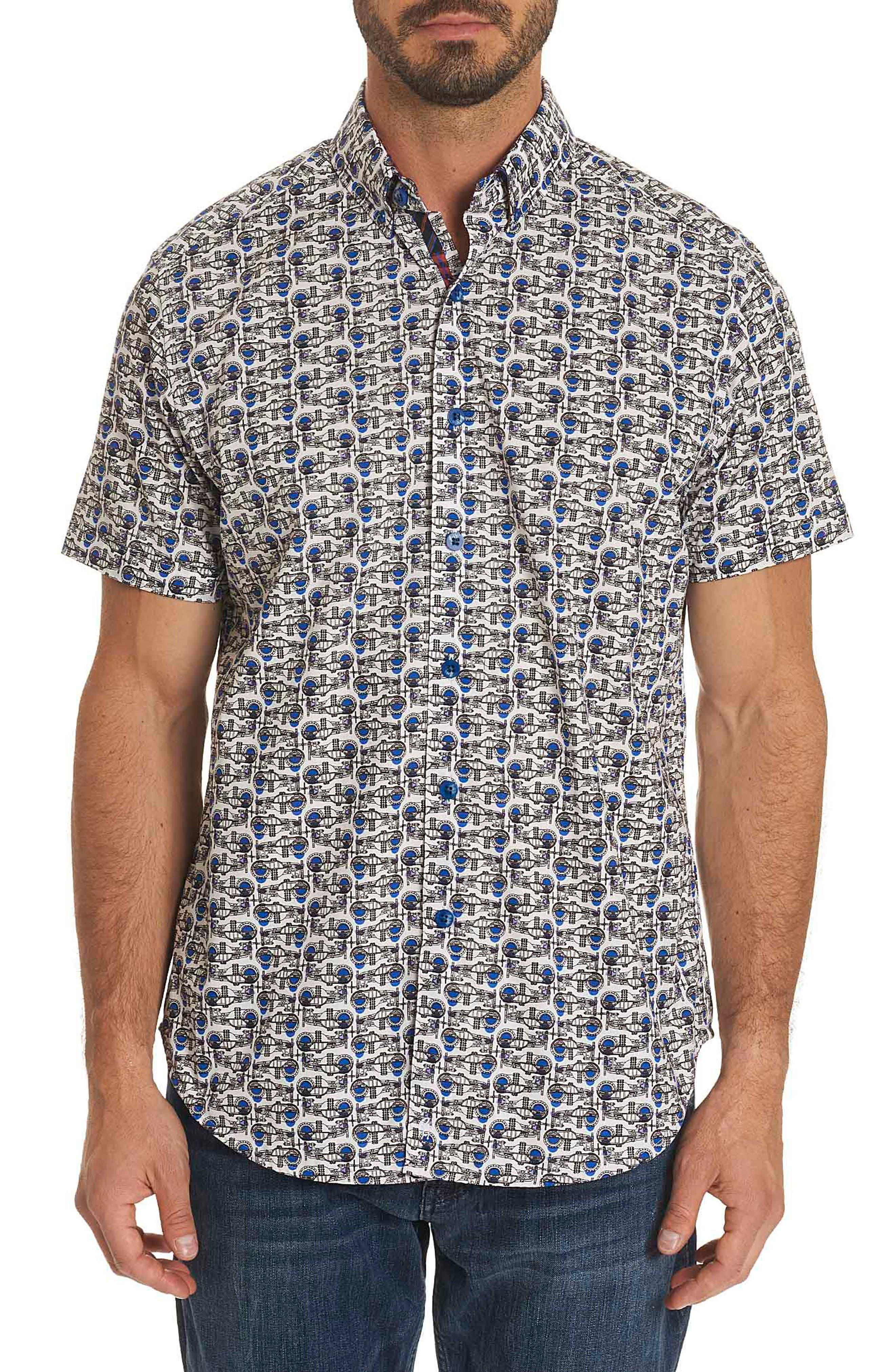 Basin Classic Fit Print Sport Shirt,                         Main,                         color, White