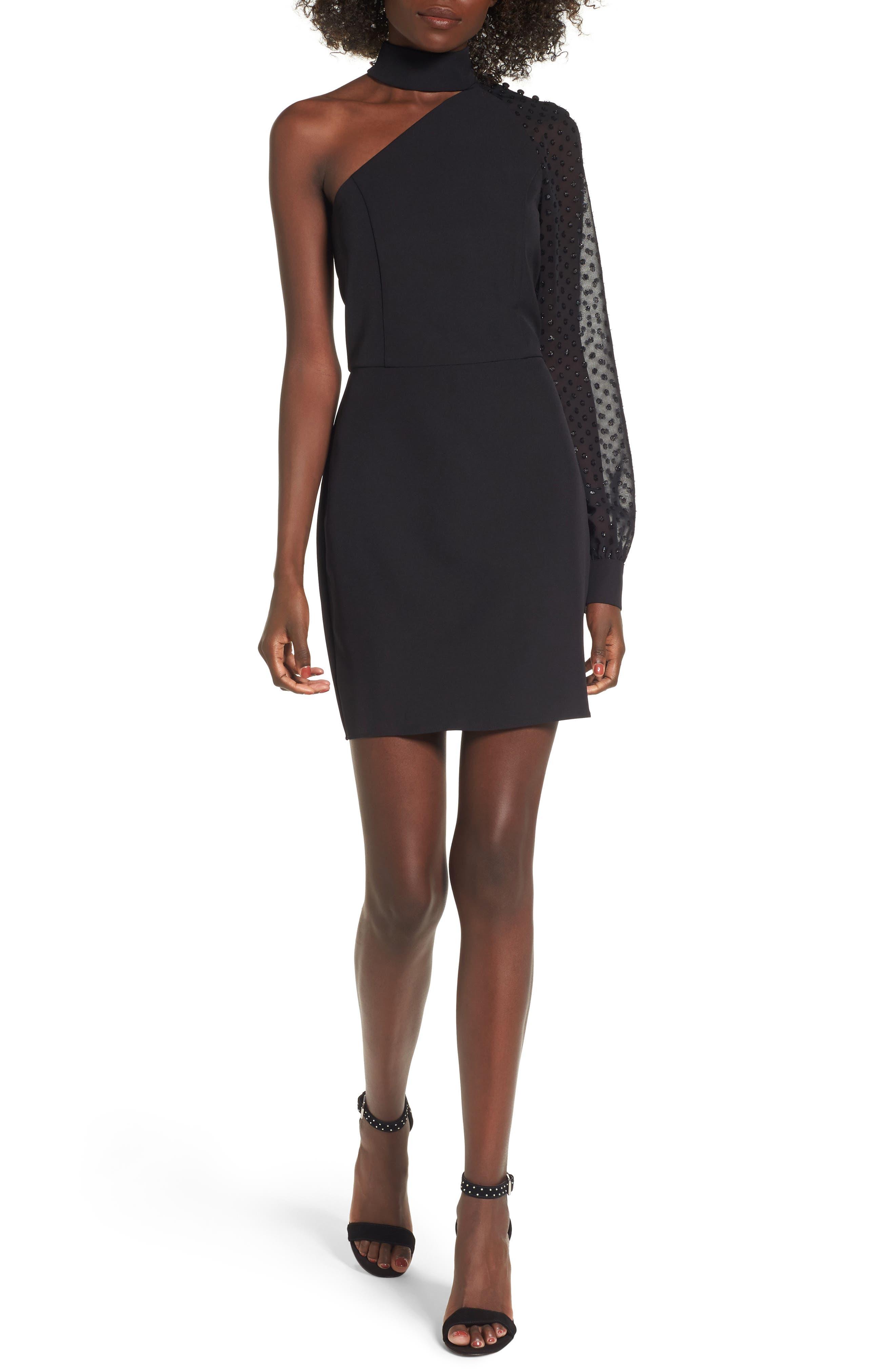 Layne One-Shoulder Dress,                         Main,                         color, Black