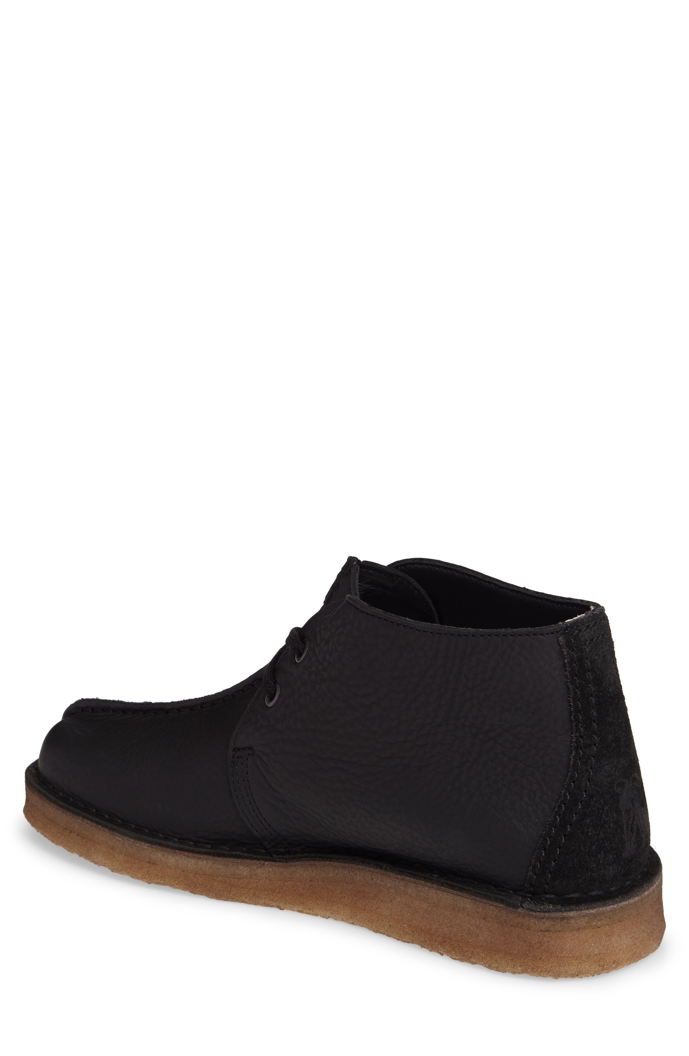 Clarks Desert Trek Leather Boot,                             Alternate thumbnail 2, color,                             Black Leather