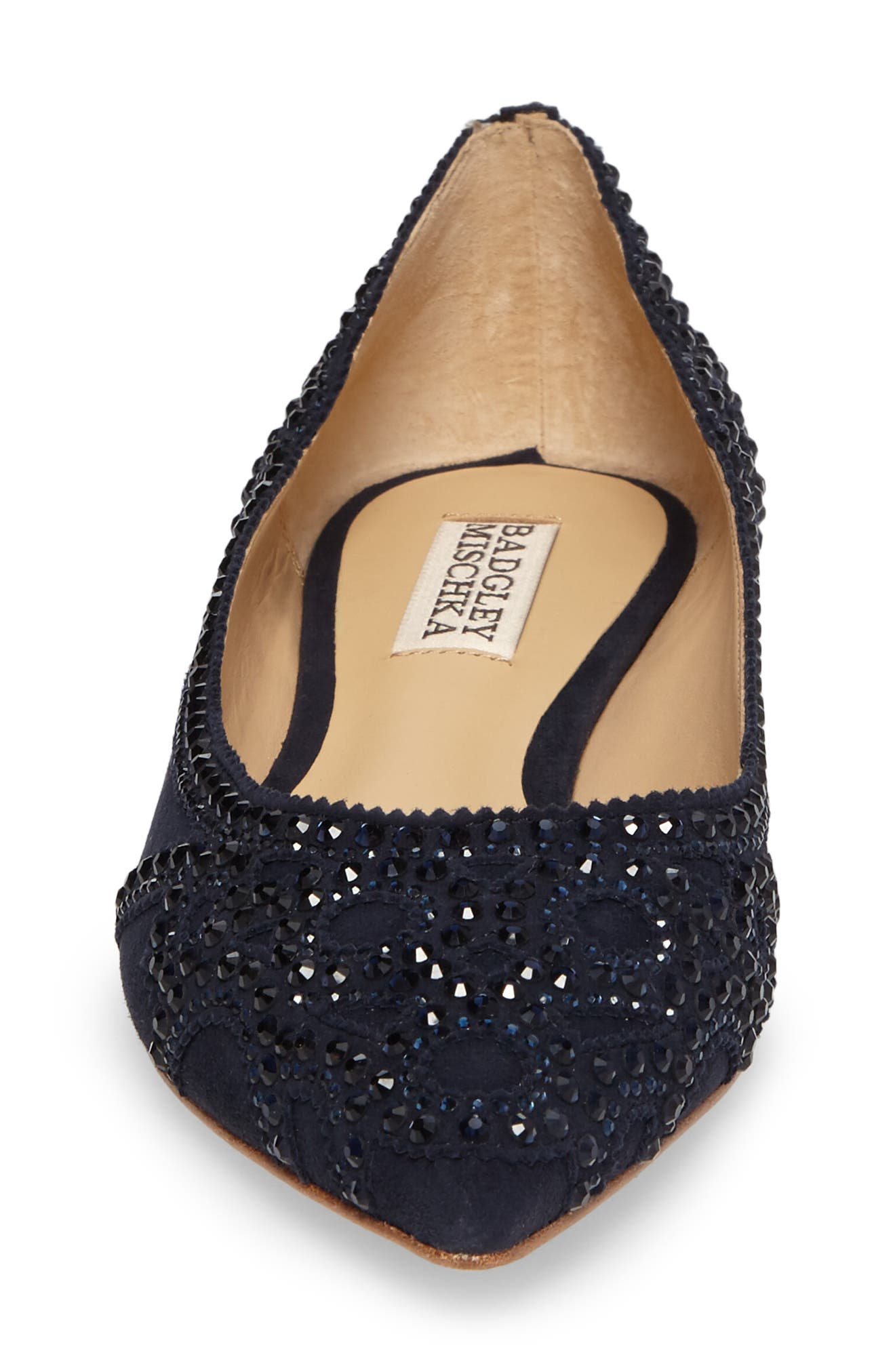 Gigi Crystal Pointy Toe Flat,                             Alternate thumbnail 4, color,                             Midnight Suede