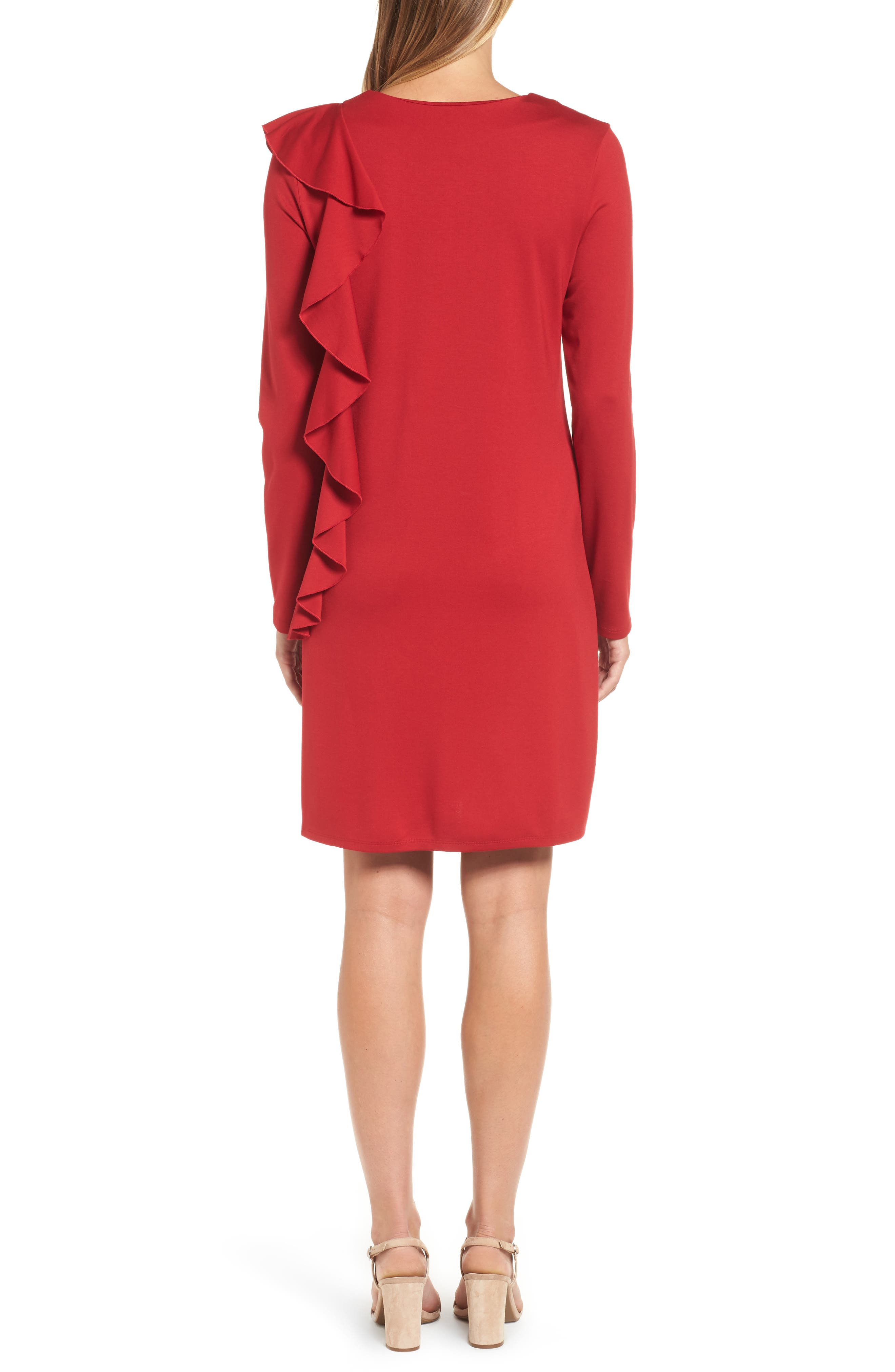 Halogen Ruffle Shift Dress,                             Alternate thumbnail 2, color,                             Red Chili