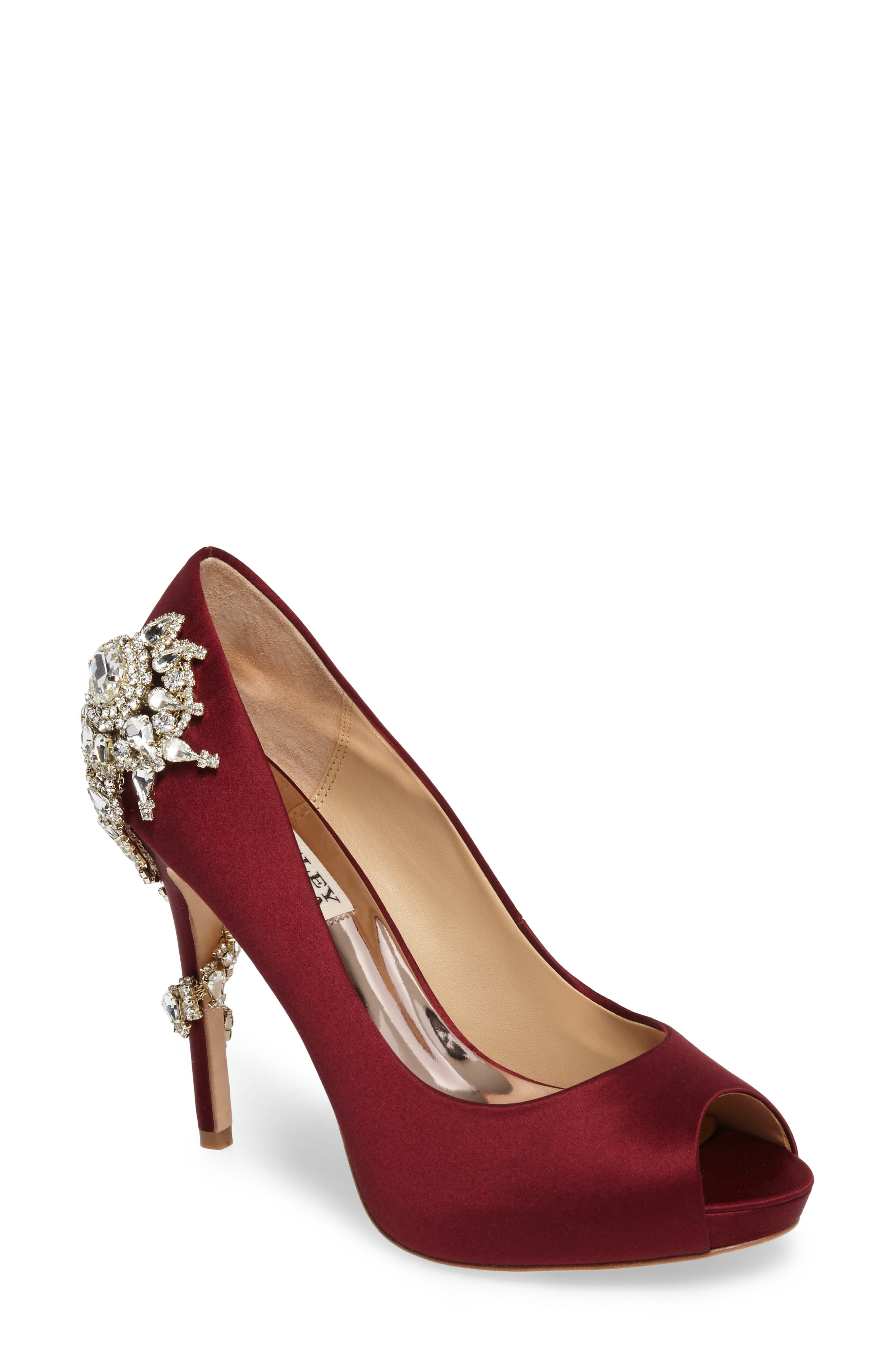 Badgley Mischka 'Royal' Crystal Embellished Peeptoe Pump,                             Main thumbnail 1, color,                             Burgundy Satin