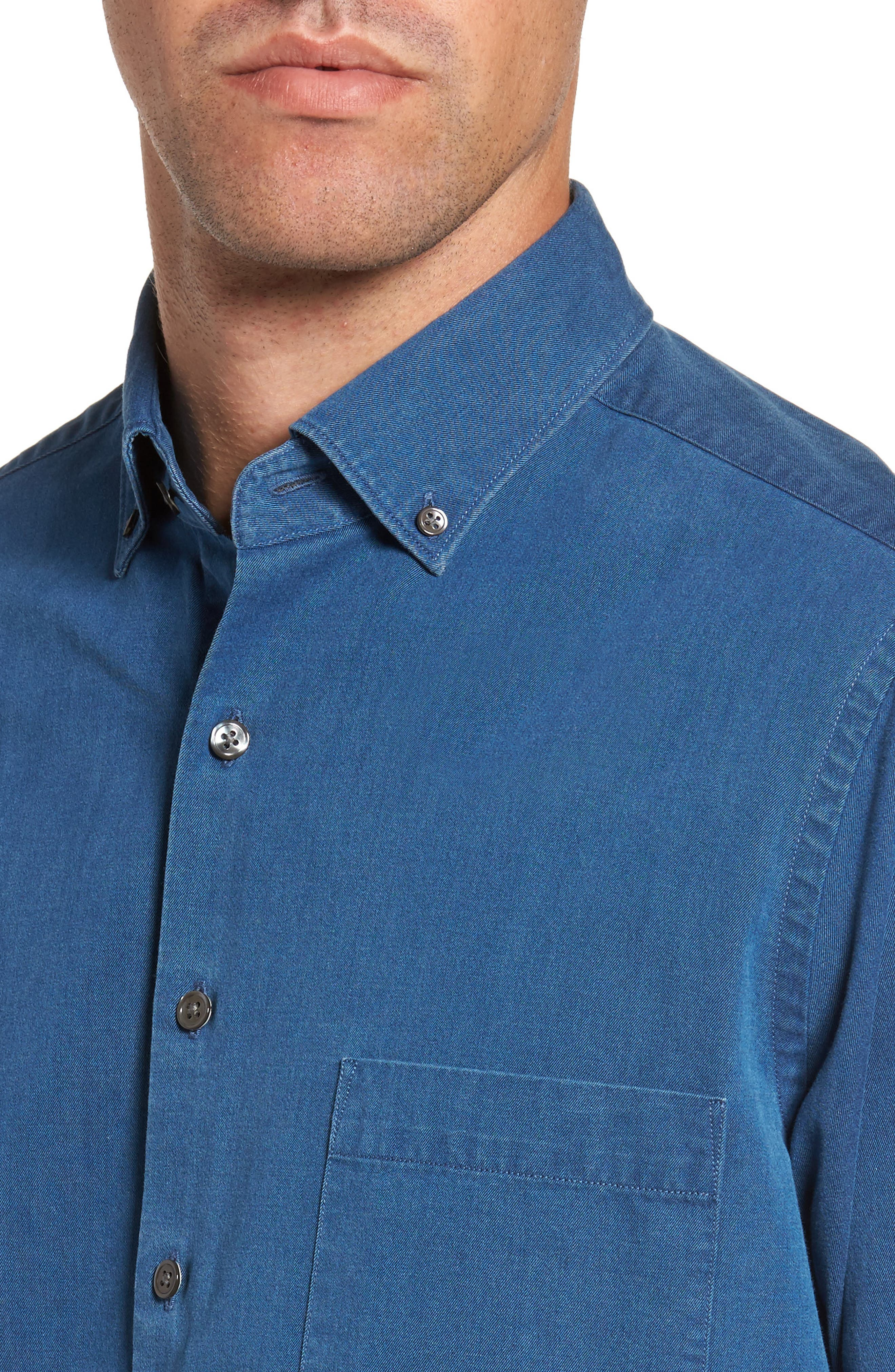 Bayswater Sports Fit Sport Shirt,                             Alternate thumbnail 4, color,                             Indigo
