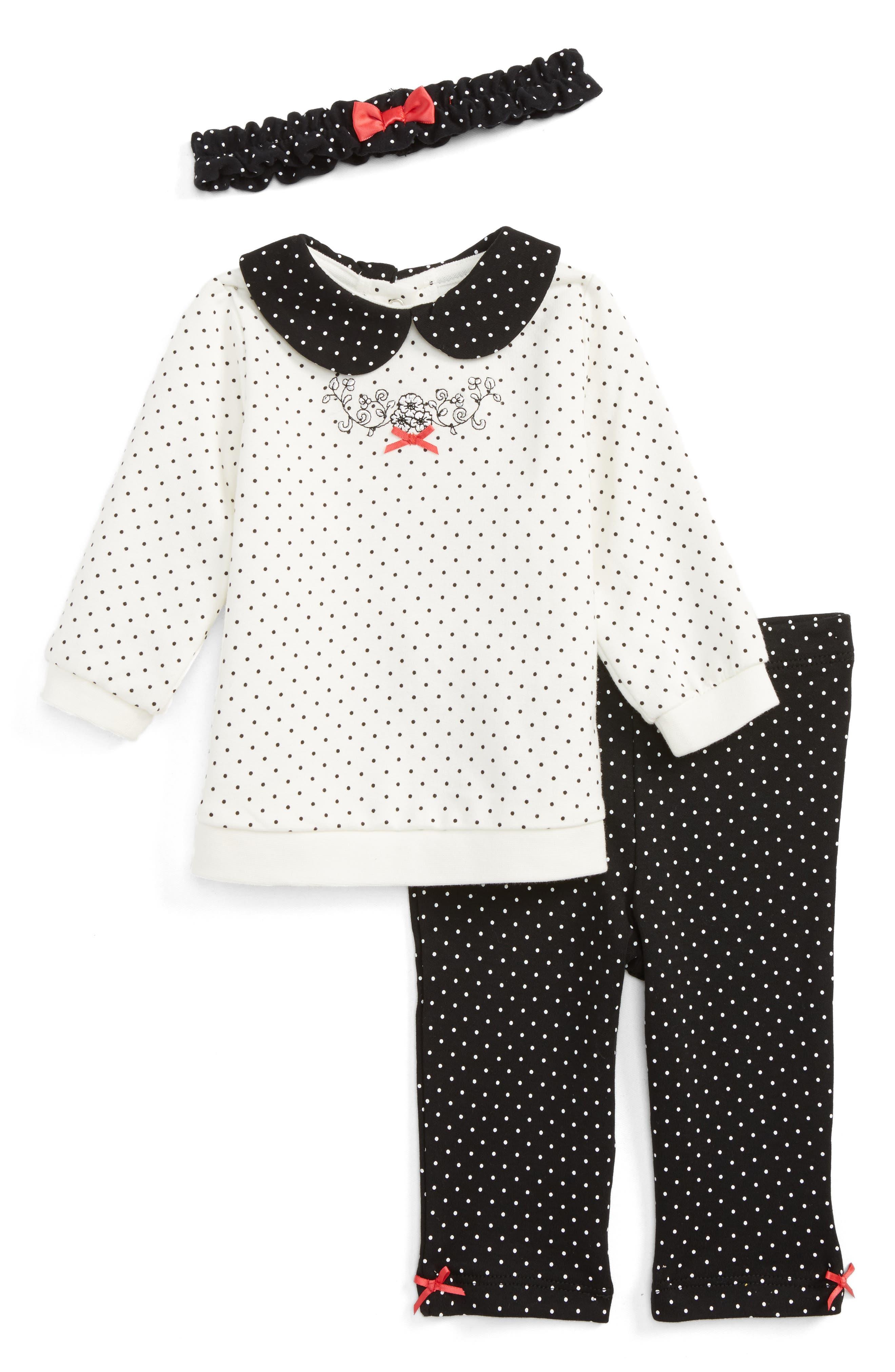 Dot Tunic, Leggings and Headband Set,                         Main,                         color, Black