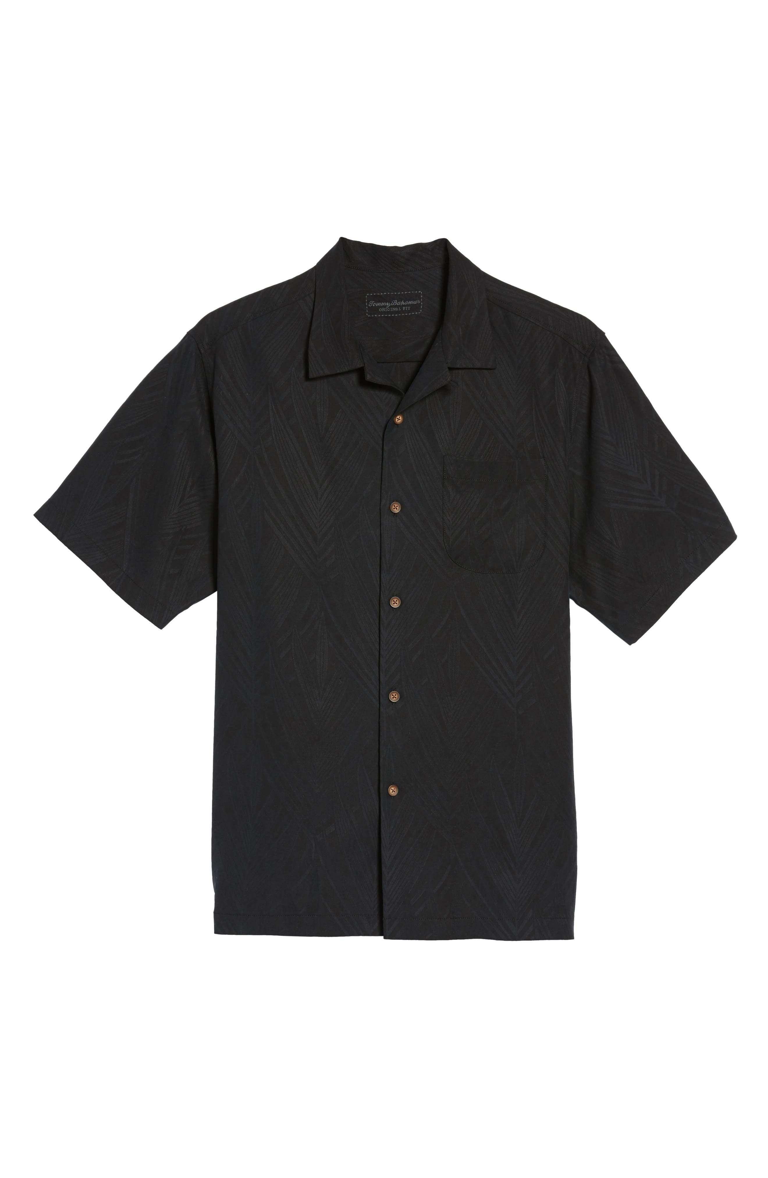 Local Watering Hole Embroidered Silk Camp Shirt,                             Alternate thumbnail 6, color,                             Black