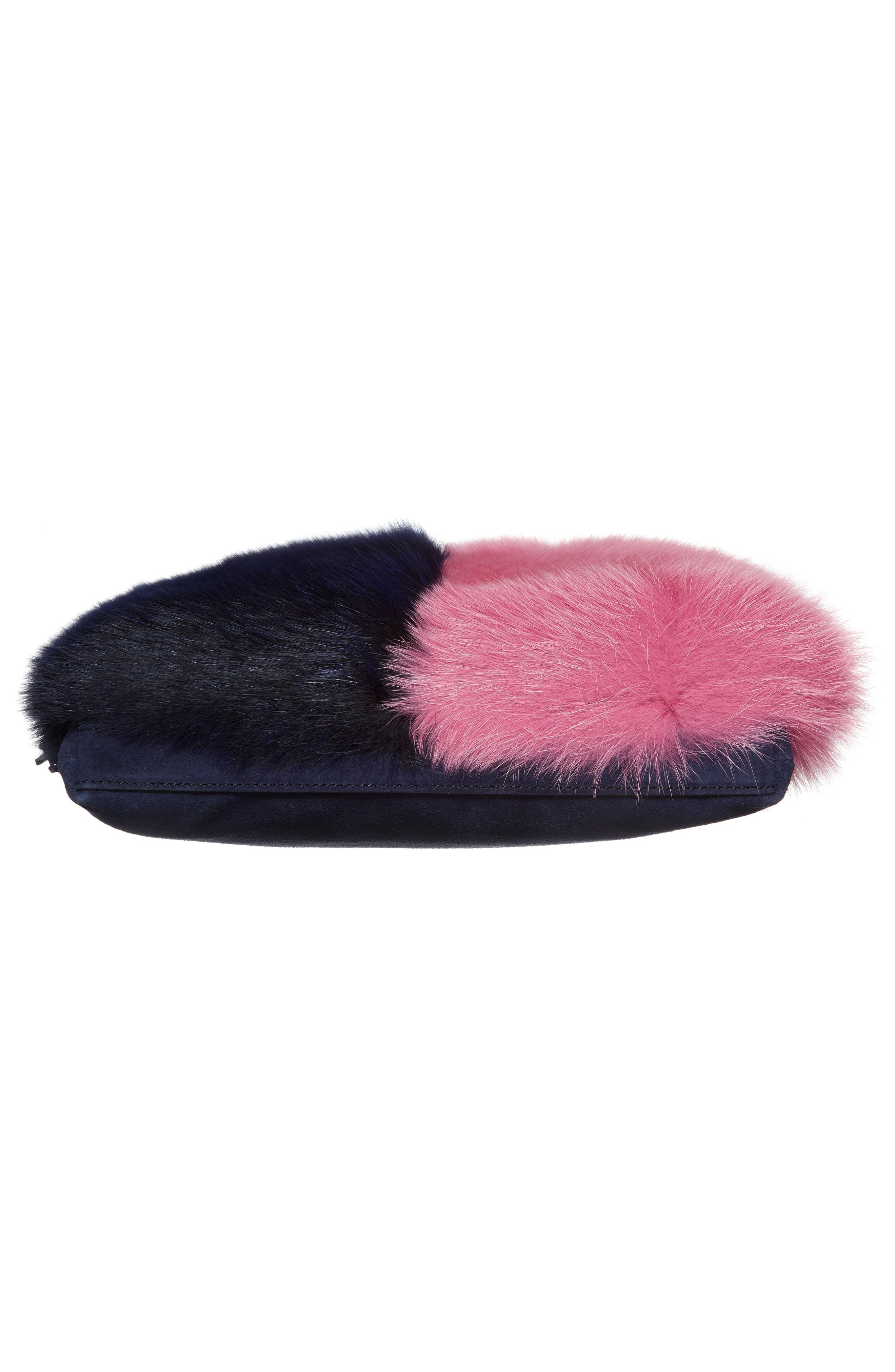 Genuine Fox Fur Tassel Pouch,                             Alternate thumbnail 6, color,                             Eclipse/ Hot Pink