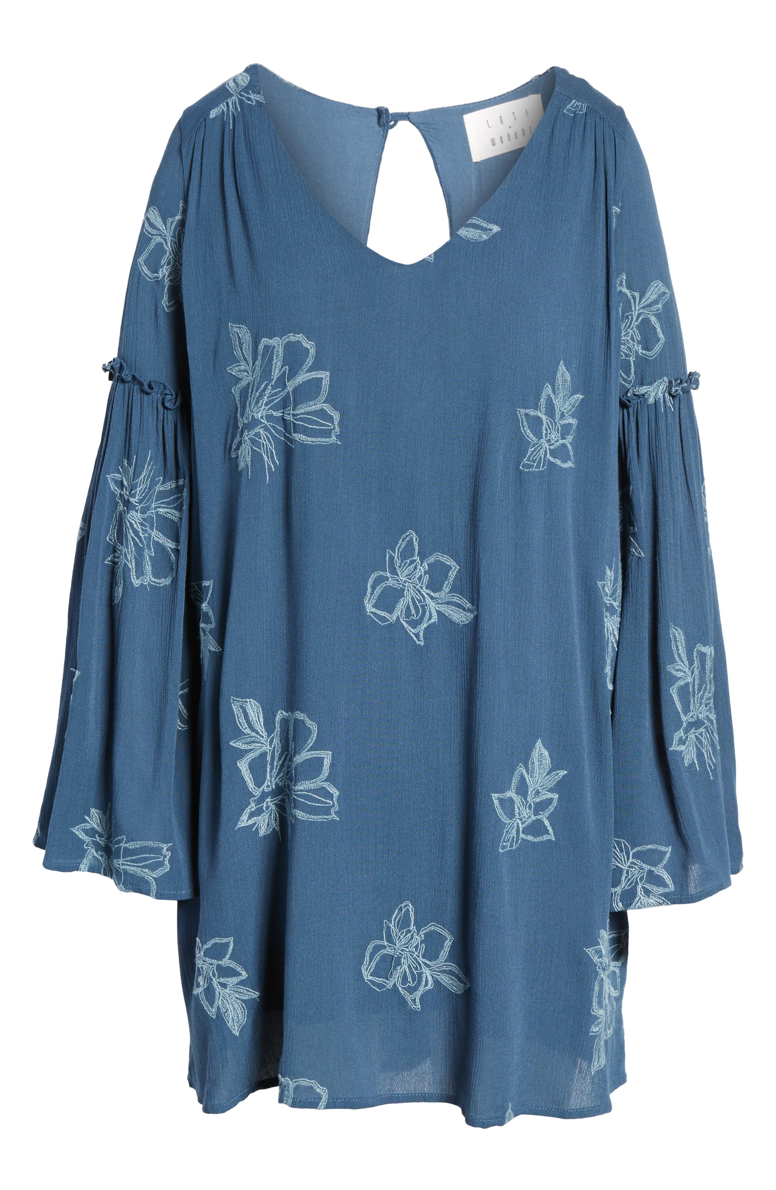 Autumn Embroidered Swing Dress,                             Alternate thumbnail 6, color,                             Blue