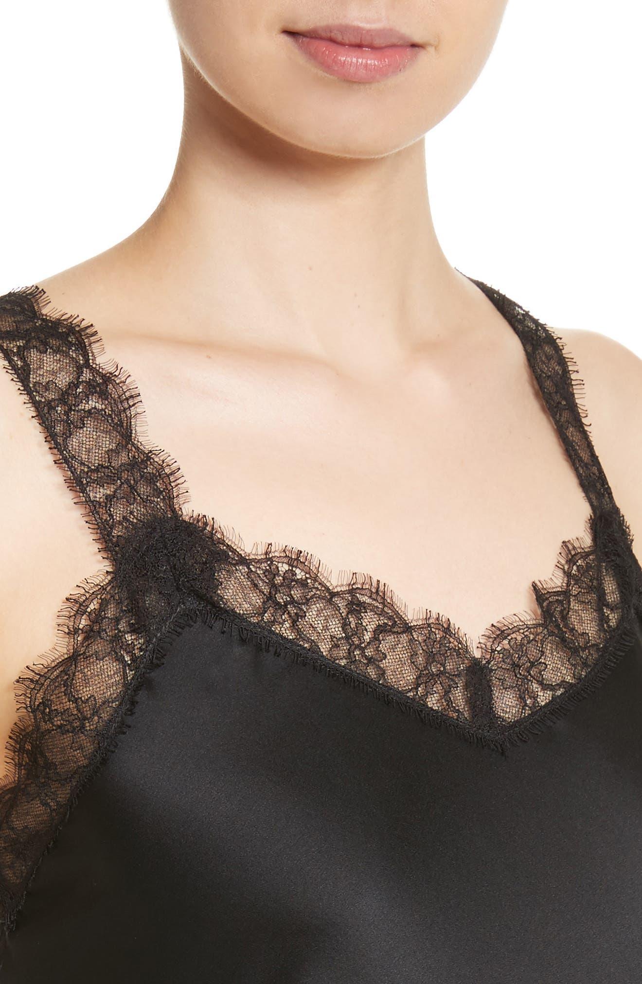 Alternate Image 4  - St. John Collection Lace Trim Stretch Silk Satin Top
