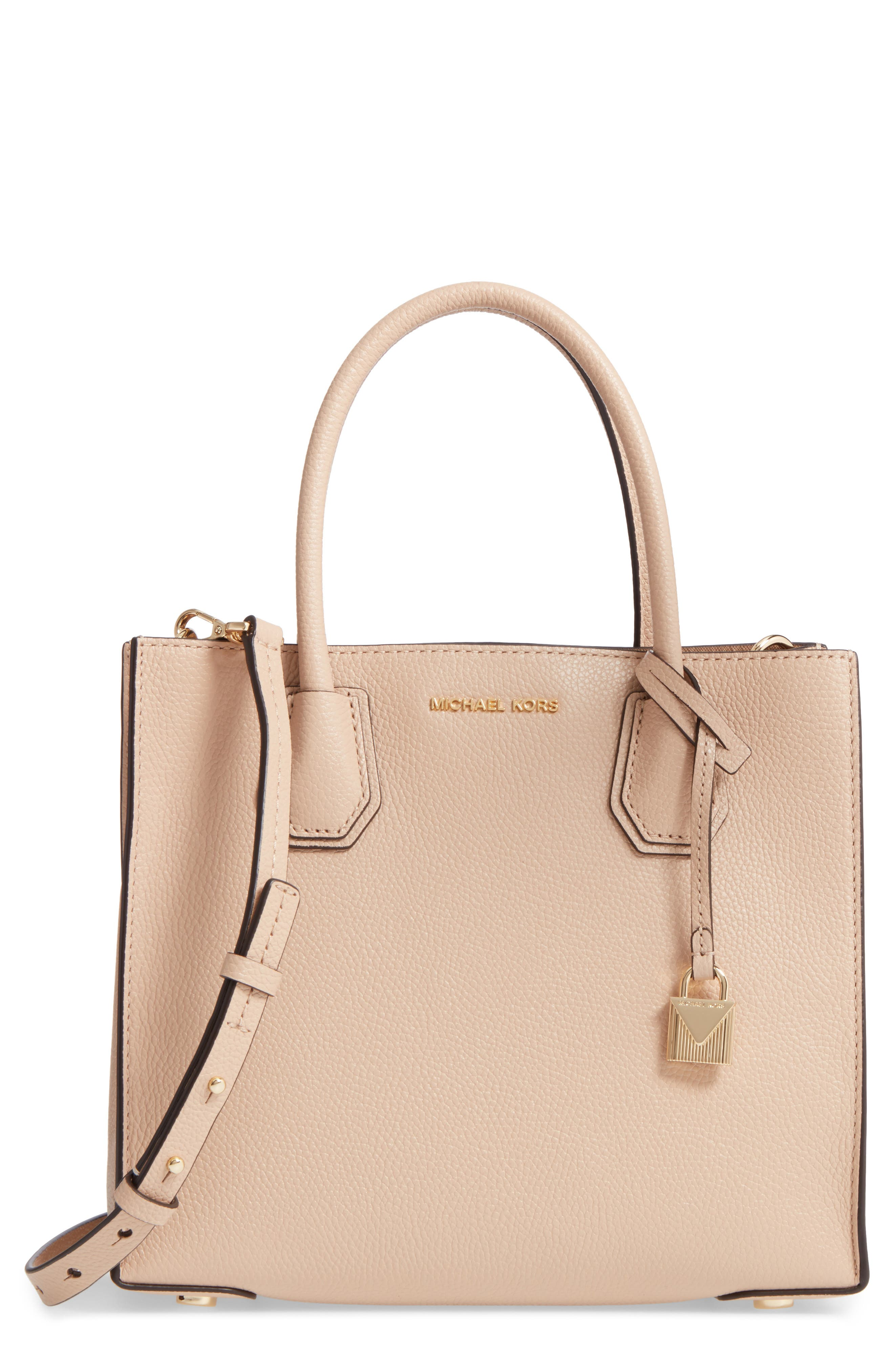 a69b22811029 Michael Michael Kors  Medium Mercer  Leather Tote - Beige In Oyster ...