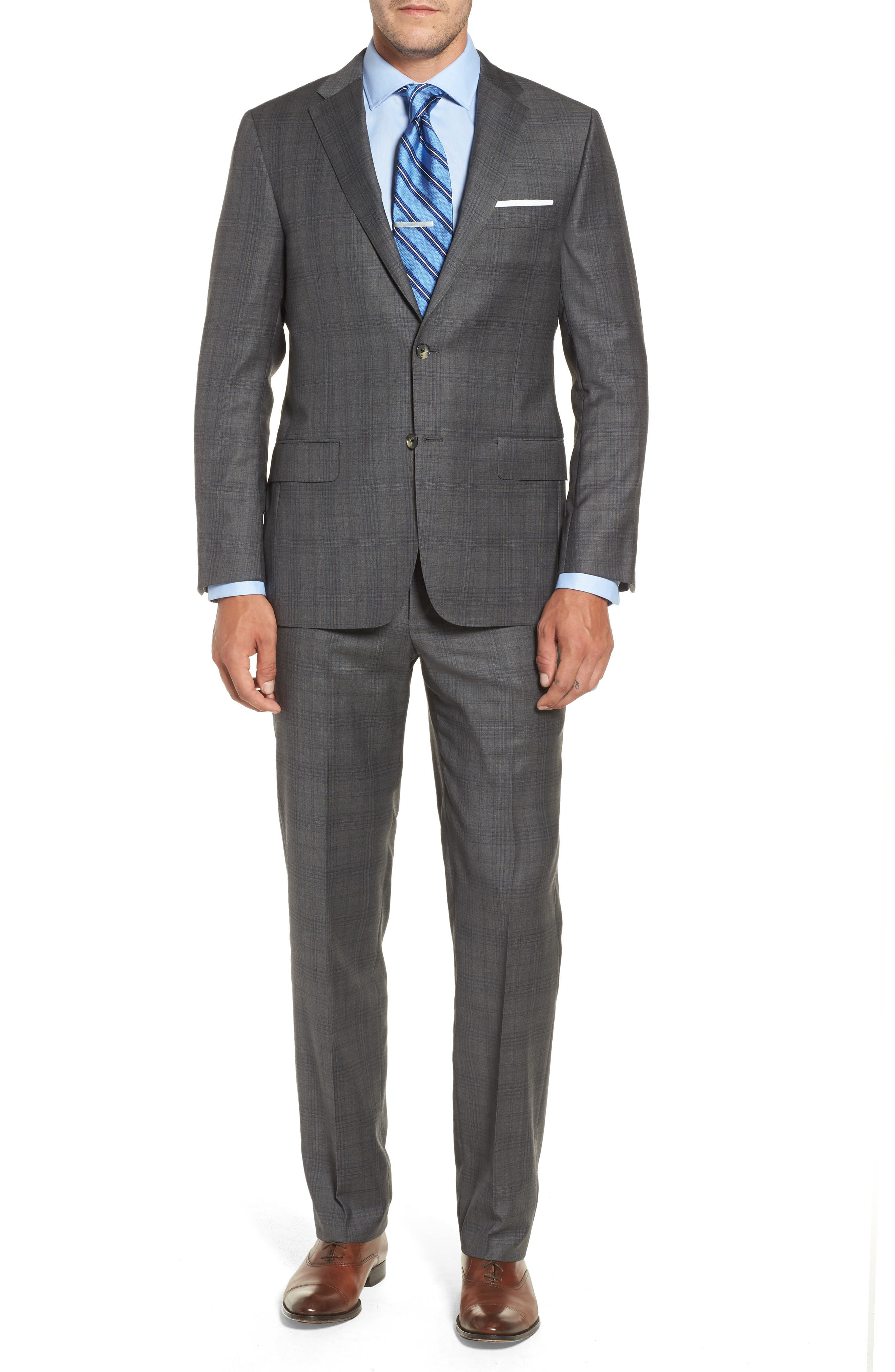 Classic B Fit Plaid Wool Suit,                             Main thumbnail 1, color,                             Grey