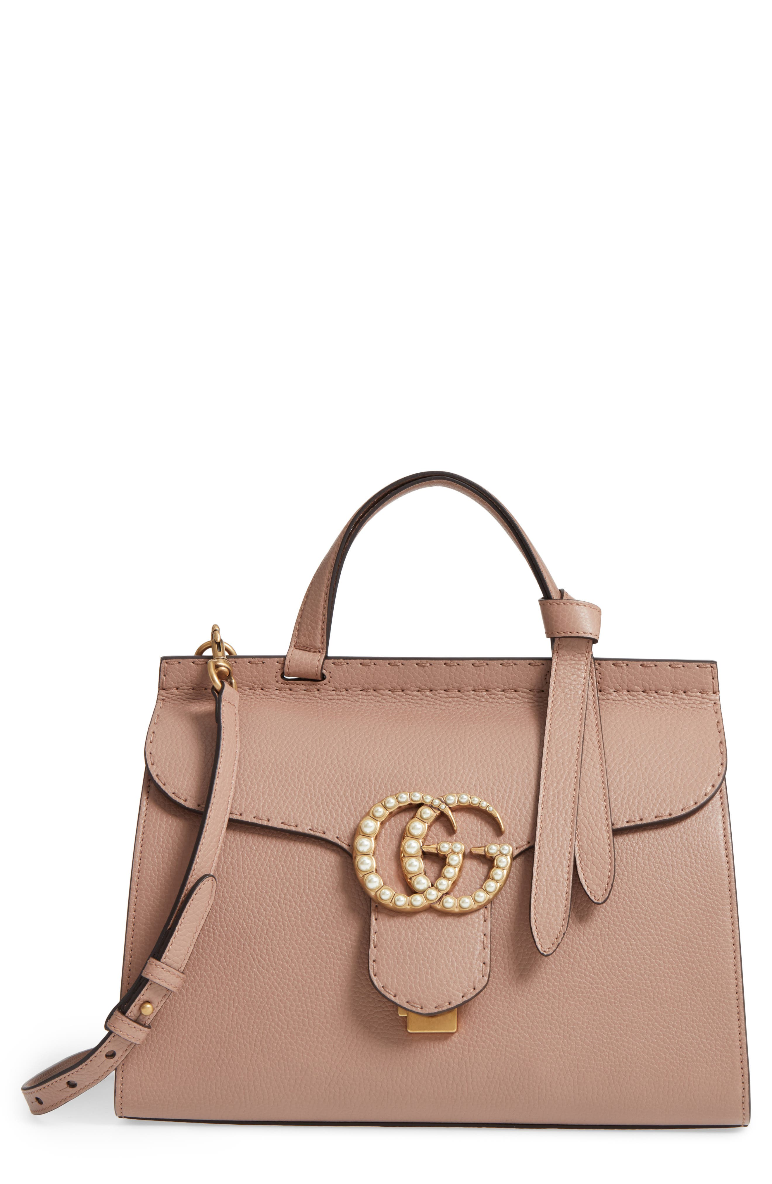 GUCCI GG Marmont Imitation Pearl Logo Top Handle Leather Satchel