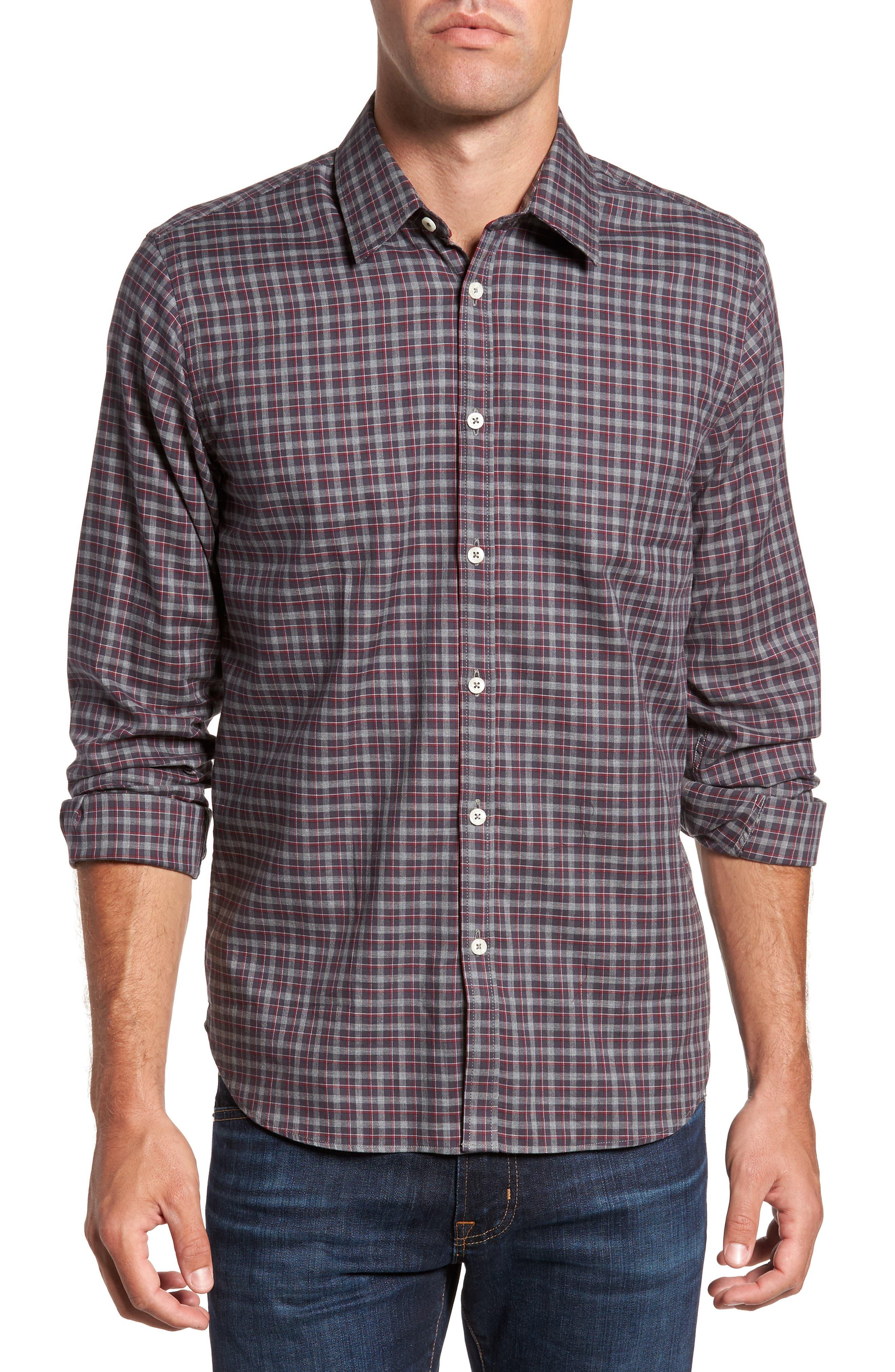Slim Fit Plaid Sport Shirt,                         Main,                         color, Dark Gray