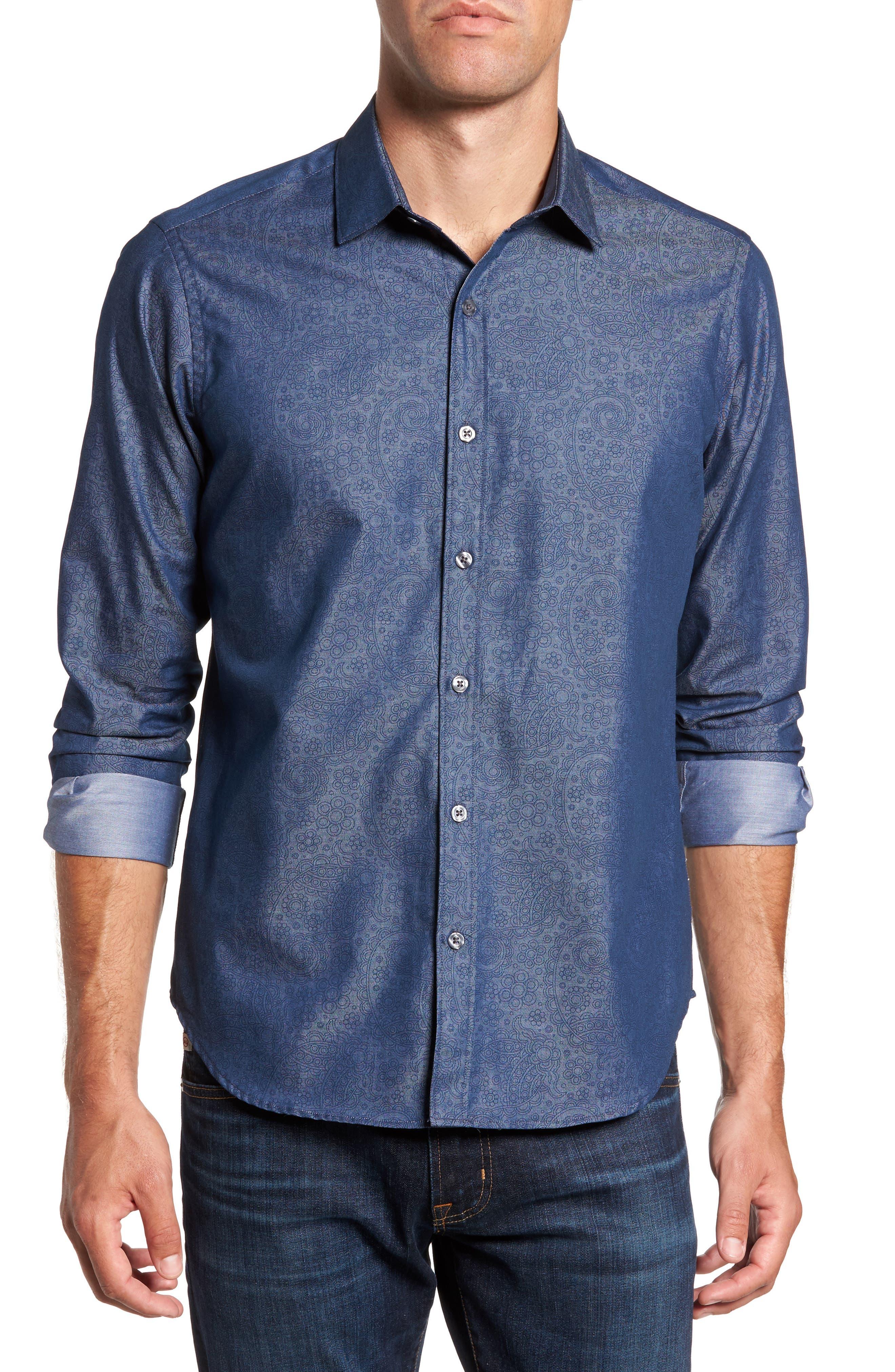Edison Slim Fit Paisley Print Sport Shirt,                         Main,                         color, Blue