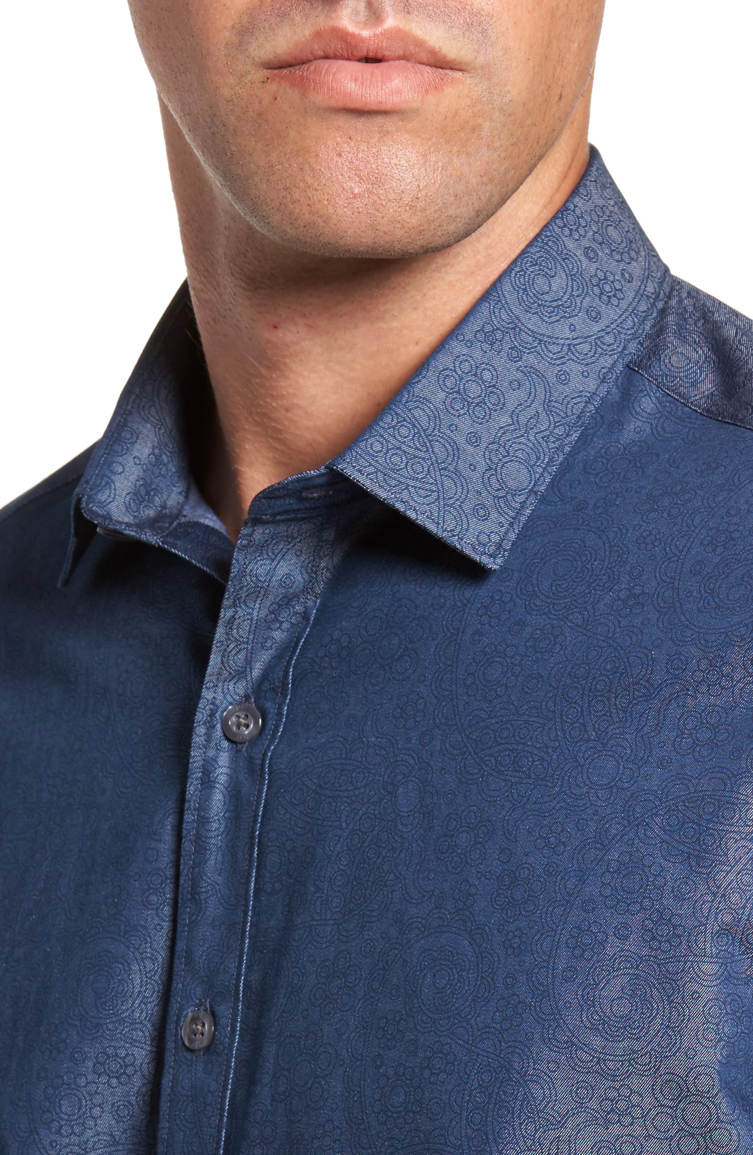 Alternate Image 4  - Jeff Edison Slim Fit Paisley Print Sport Shirt