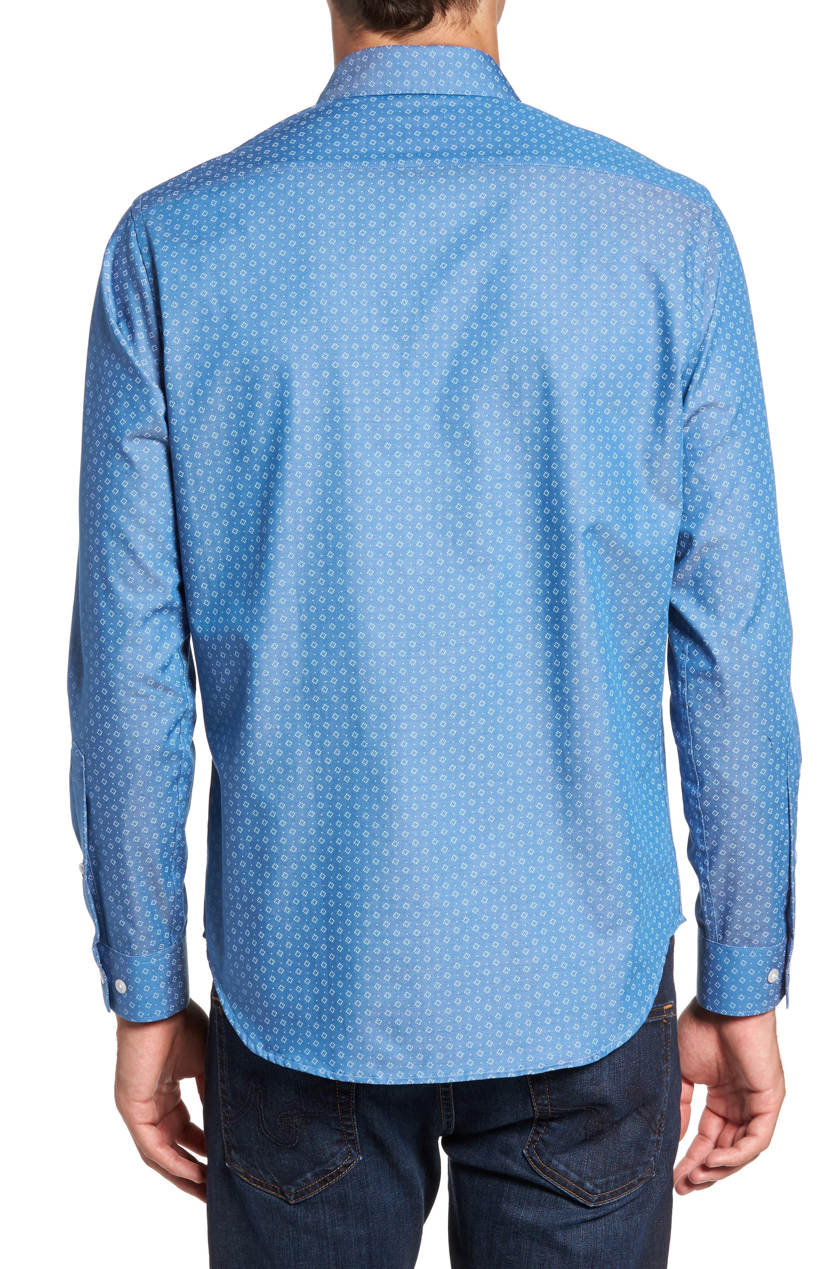 Camden Slim Fit Micro Print Sport Shirt,                             Alternate thumbnail 2, color,                             Blue