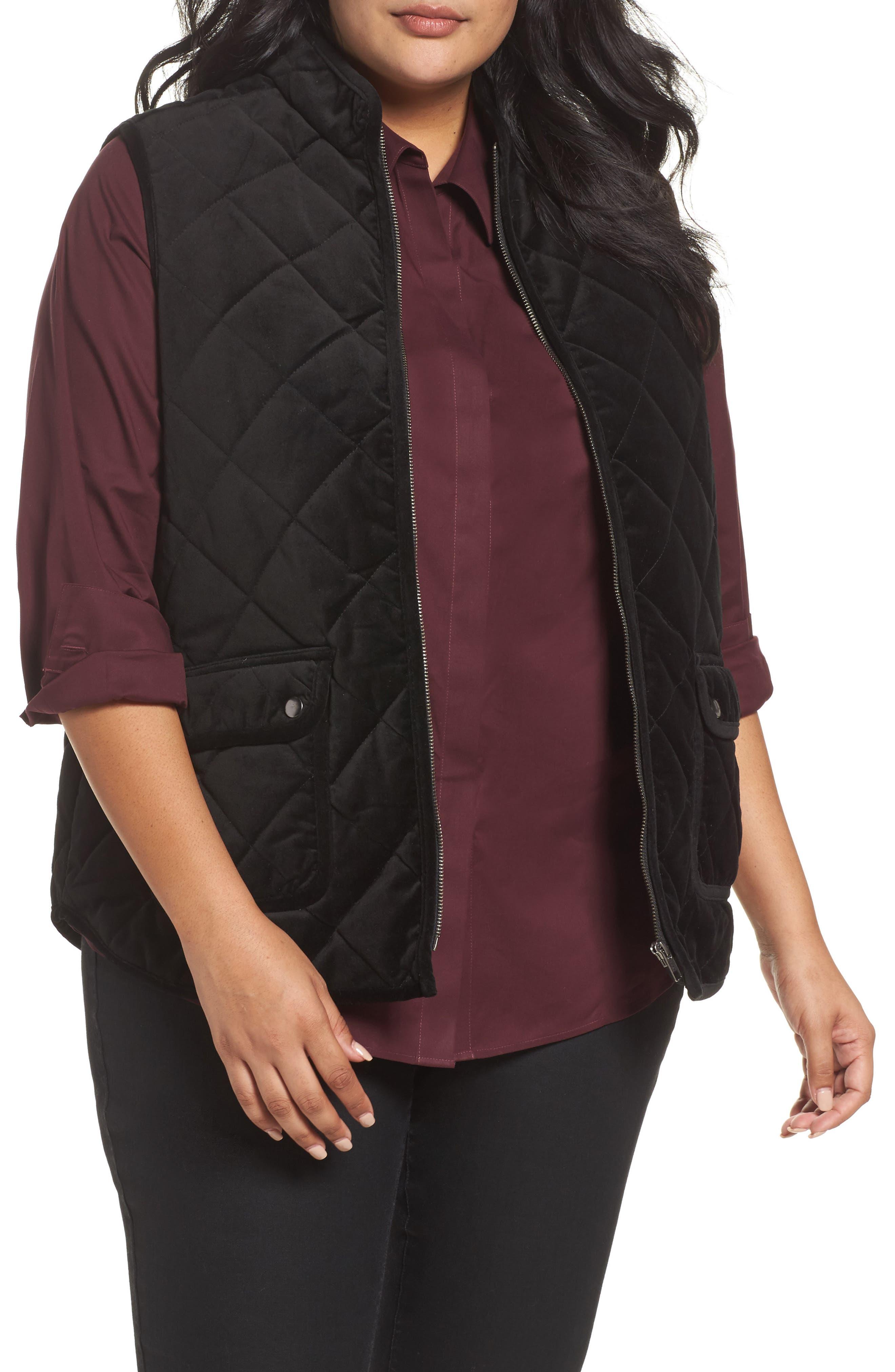 Lena Quilted Velvet Vest,                         Main,                         color, Black