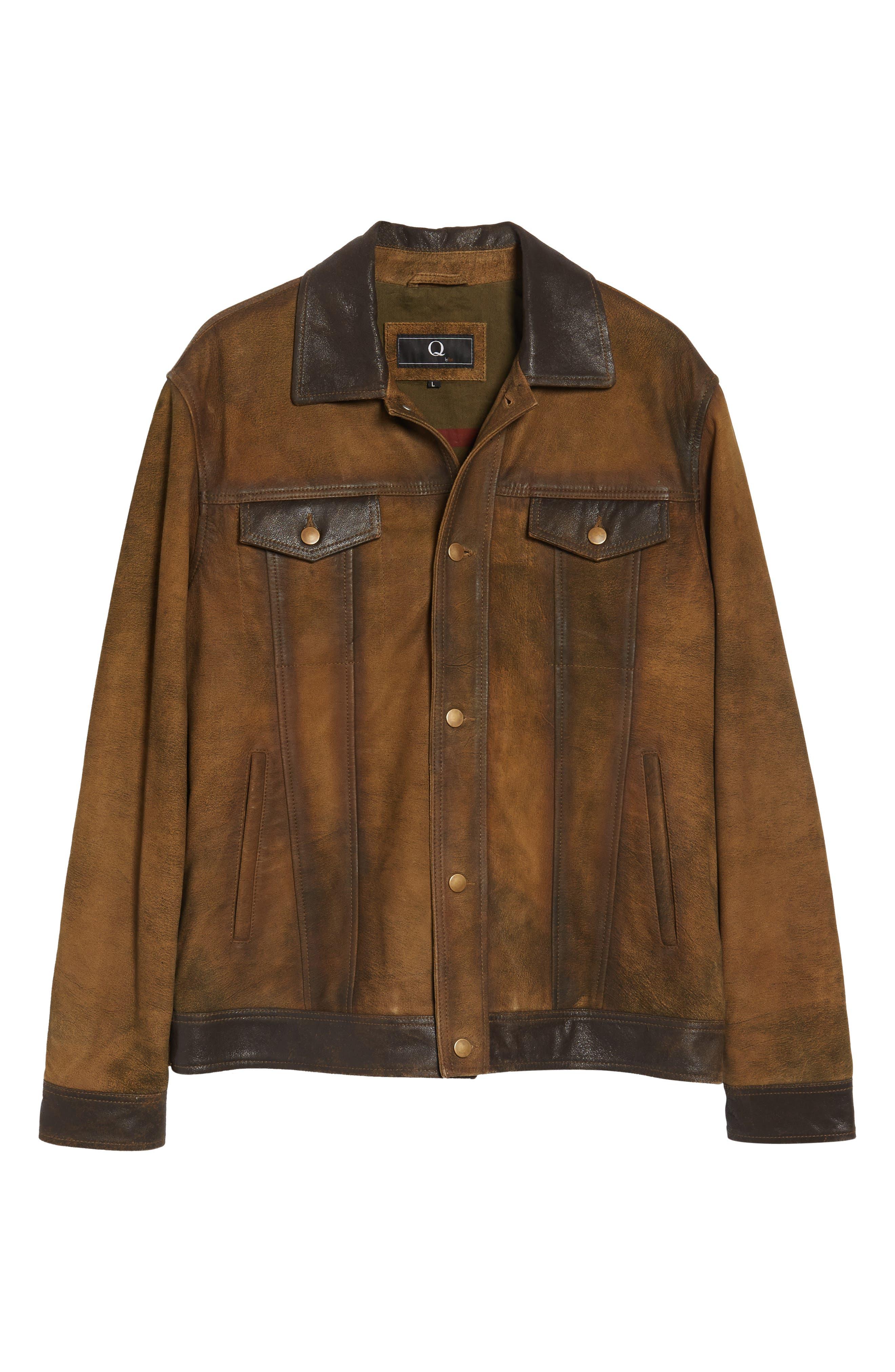 Alternate Image 6  - FLYNT Distressed Leather Trucker Jacket