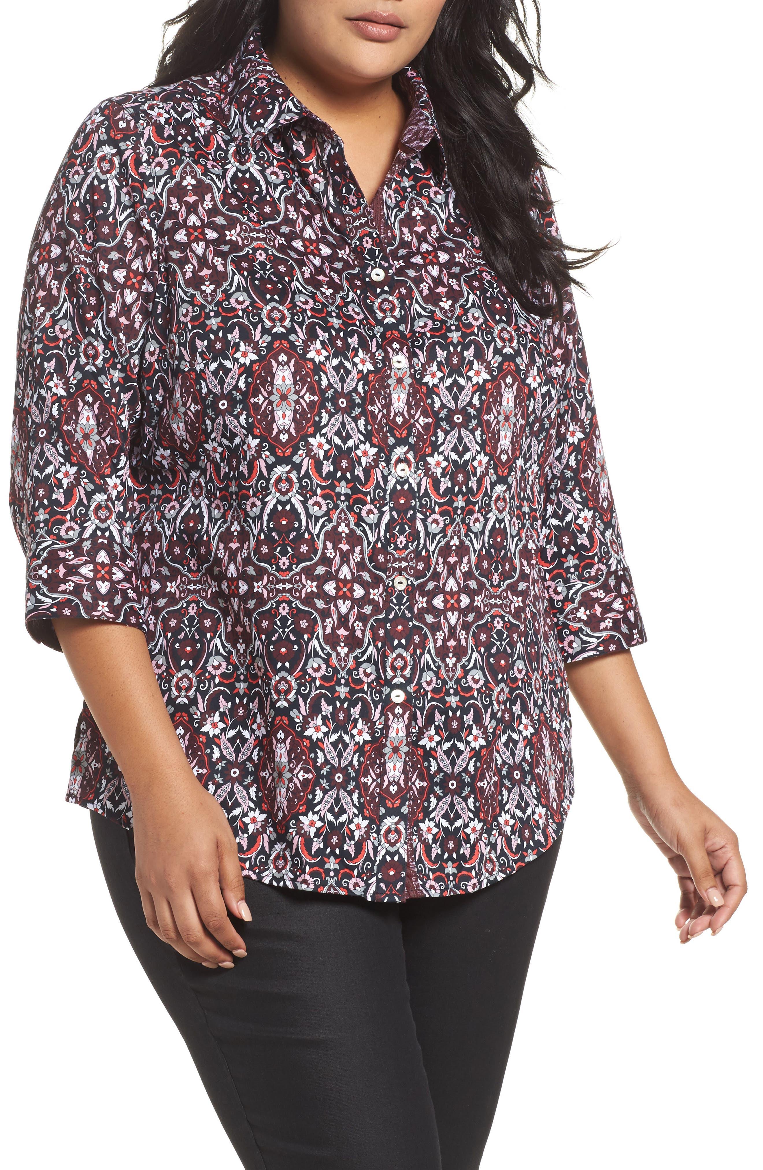 Main Image - Foxcroft Ava Heirloom Paisley Print Cotton Shirt (Plus Size)