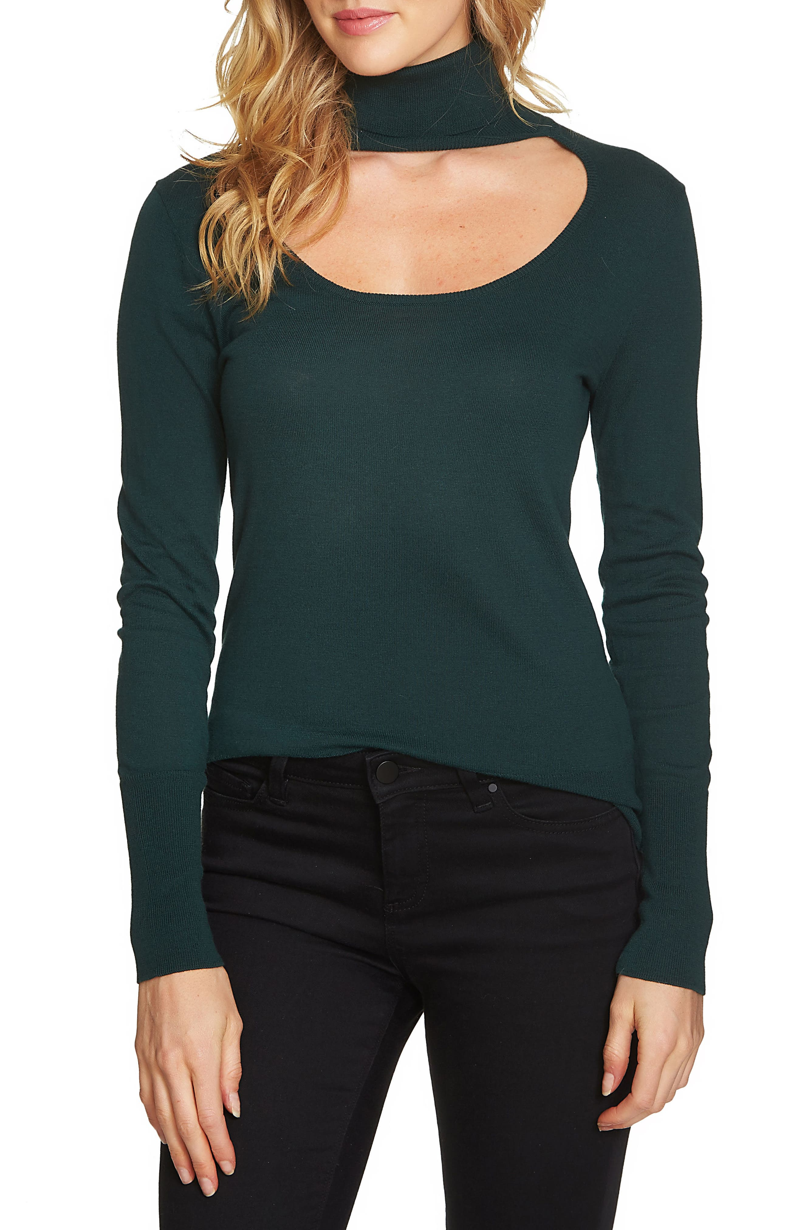 1.STATE Cutout Turtleneck Top