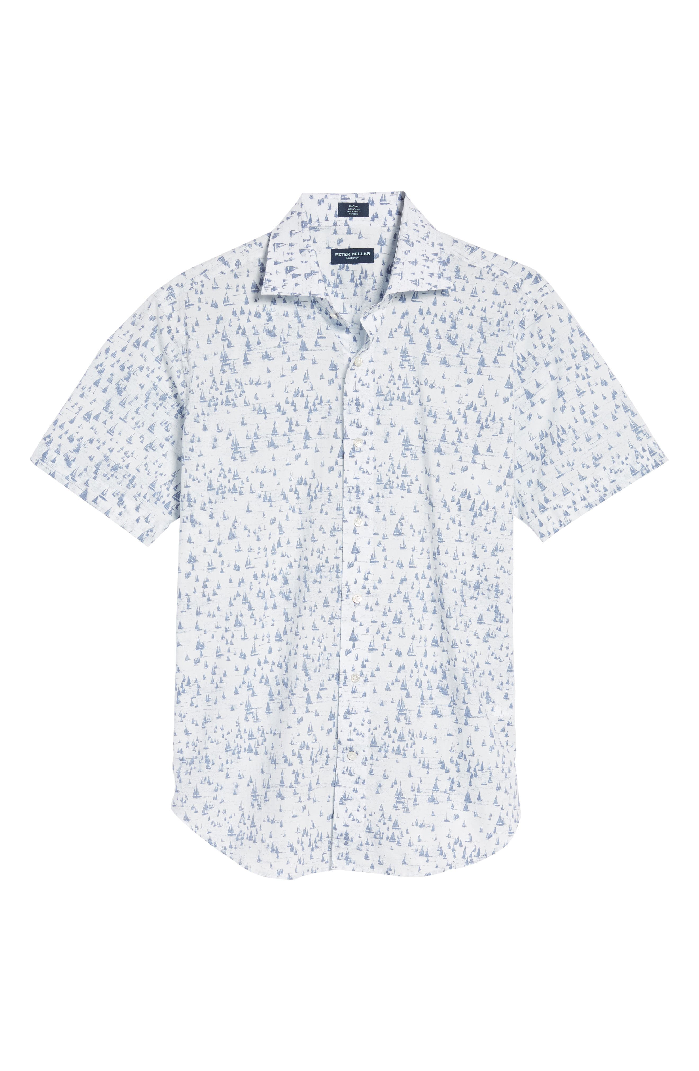 Smooth Sailin' Print Woven Shirt,                             Alternate thumbnail 6, color,                             Avio Blue