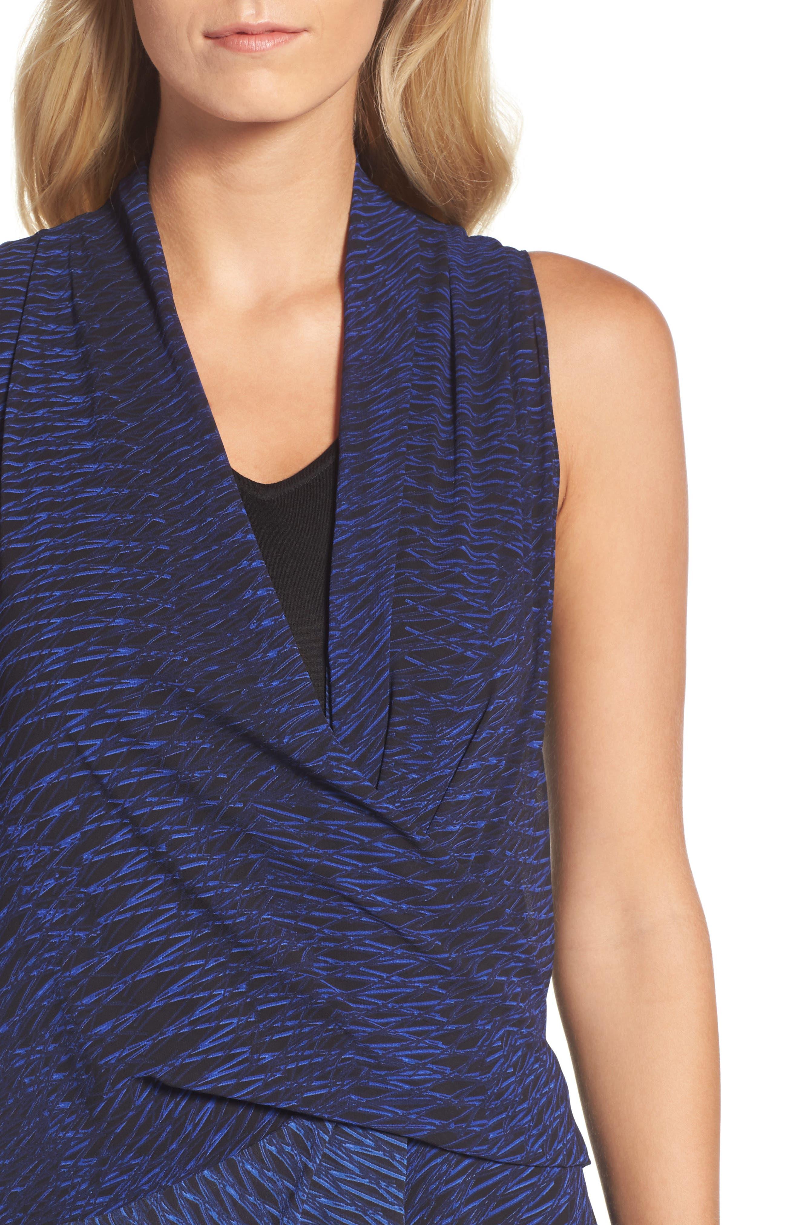 Blue Streaks Midi Dress,                             Alternate thumbnail 4, color,                             Blue Roma