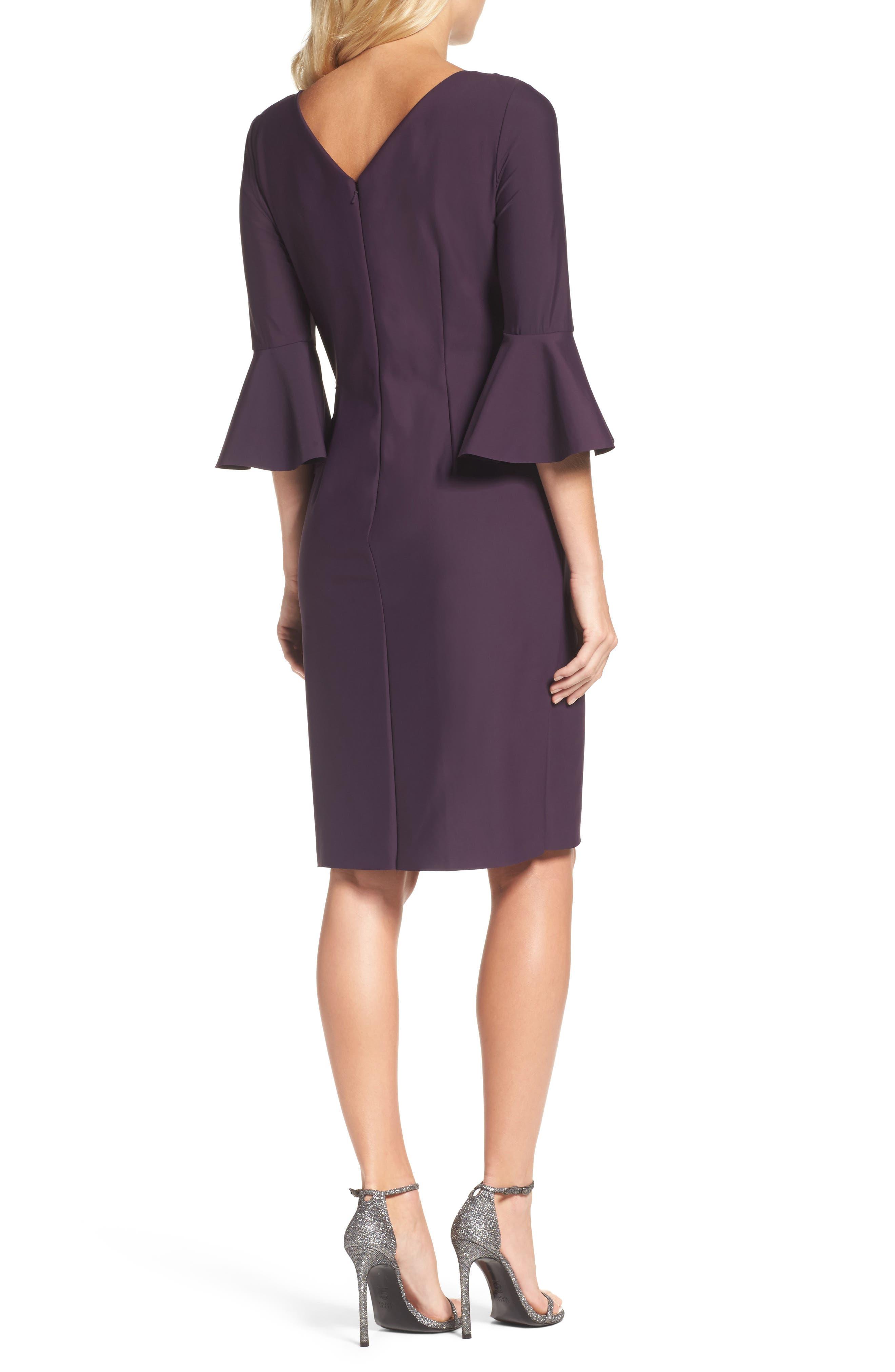 Alternate Image 2  - Alex Evenings Bell Sleeve Sheath Dress (Regular & Petite)