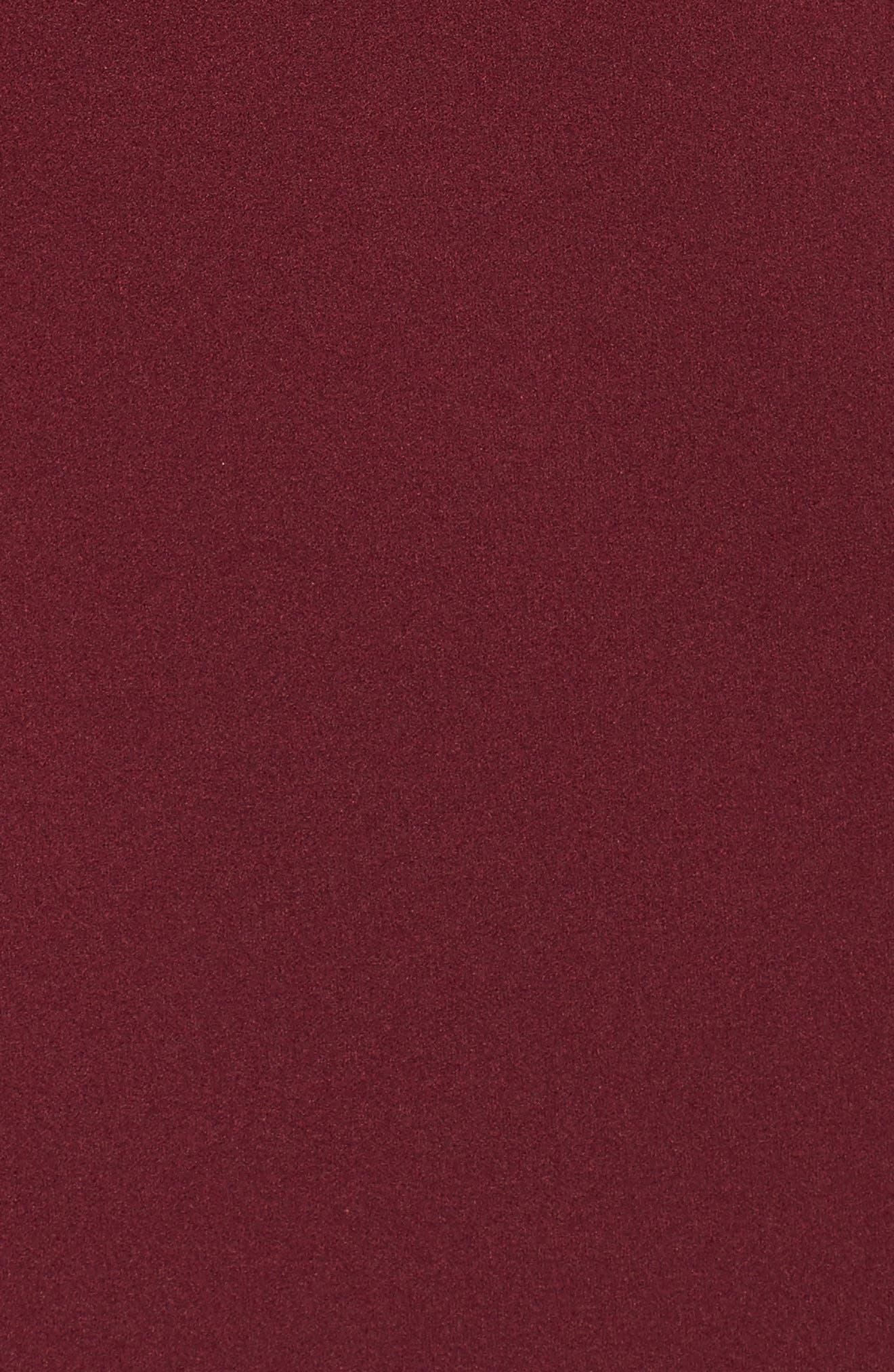 Asymmetrical Neck Sheath Dress,                             Alternate thumbnail 5, color,                             Burgundy
