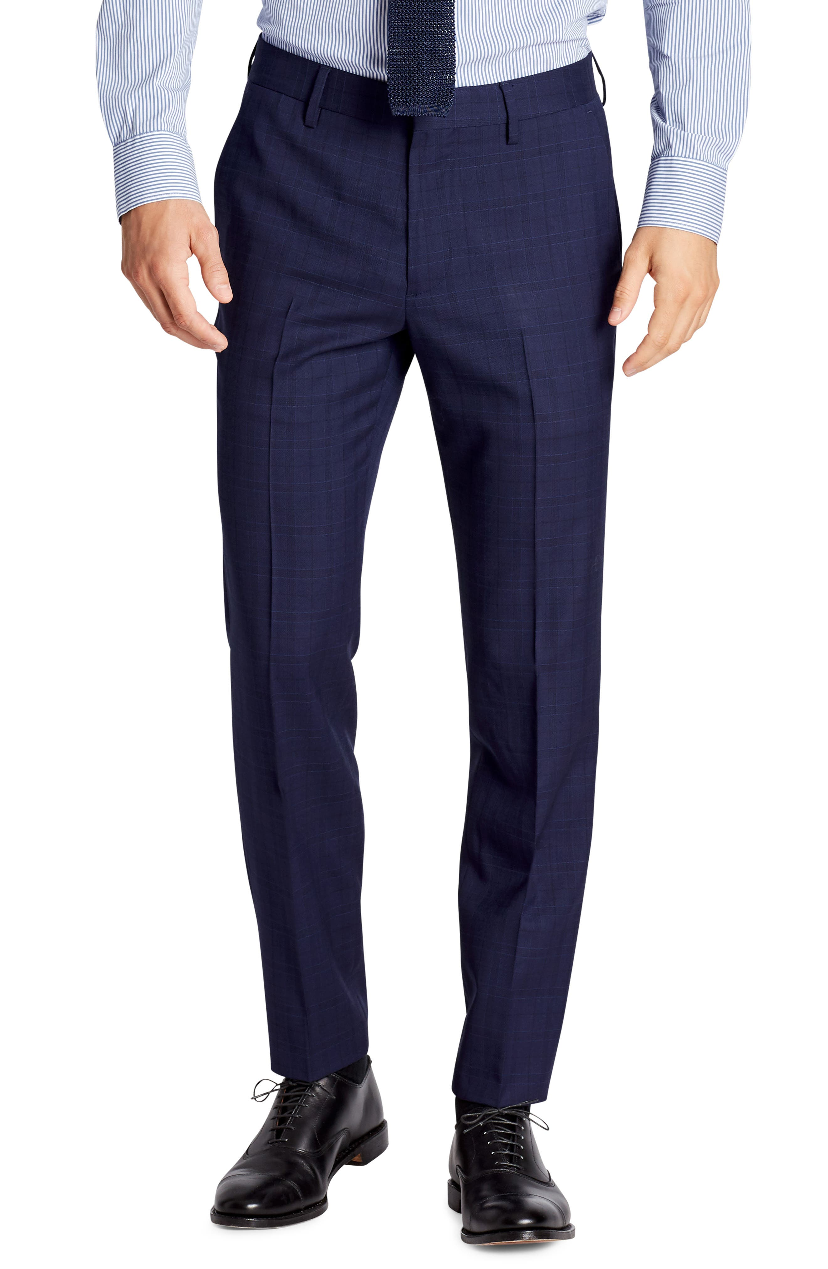 Jetsetter Flat Front Plaid Stretch Wool Trousers,                         Main,                         color, Blue Plaid