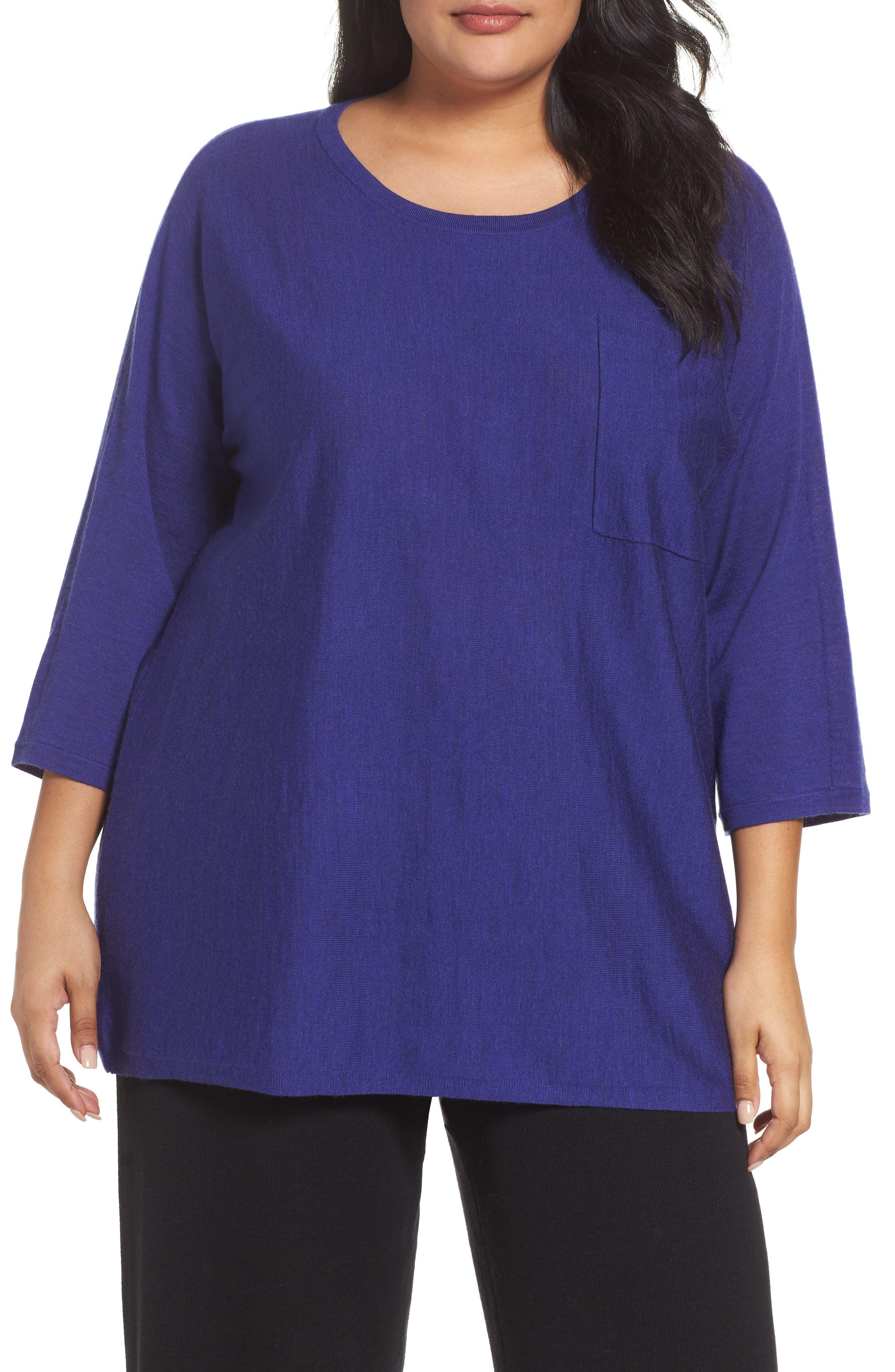 Main Image - Eileen Fisher Round Neck Merino Sweater (Plus Size)