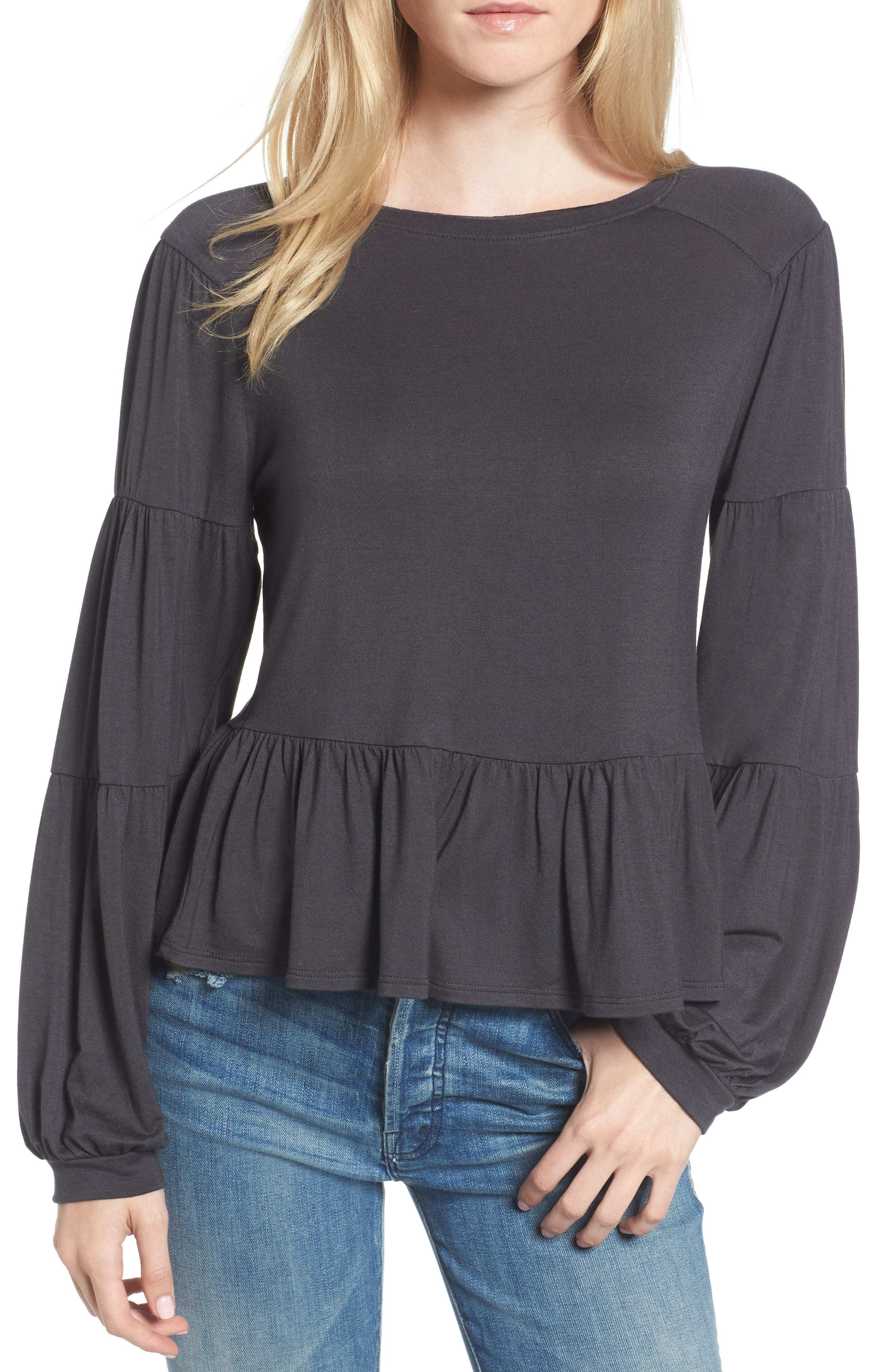 Peplum Tee,                             Main thumbnail 1, color,                             Grey Phantom