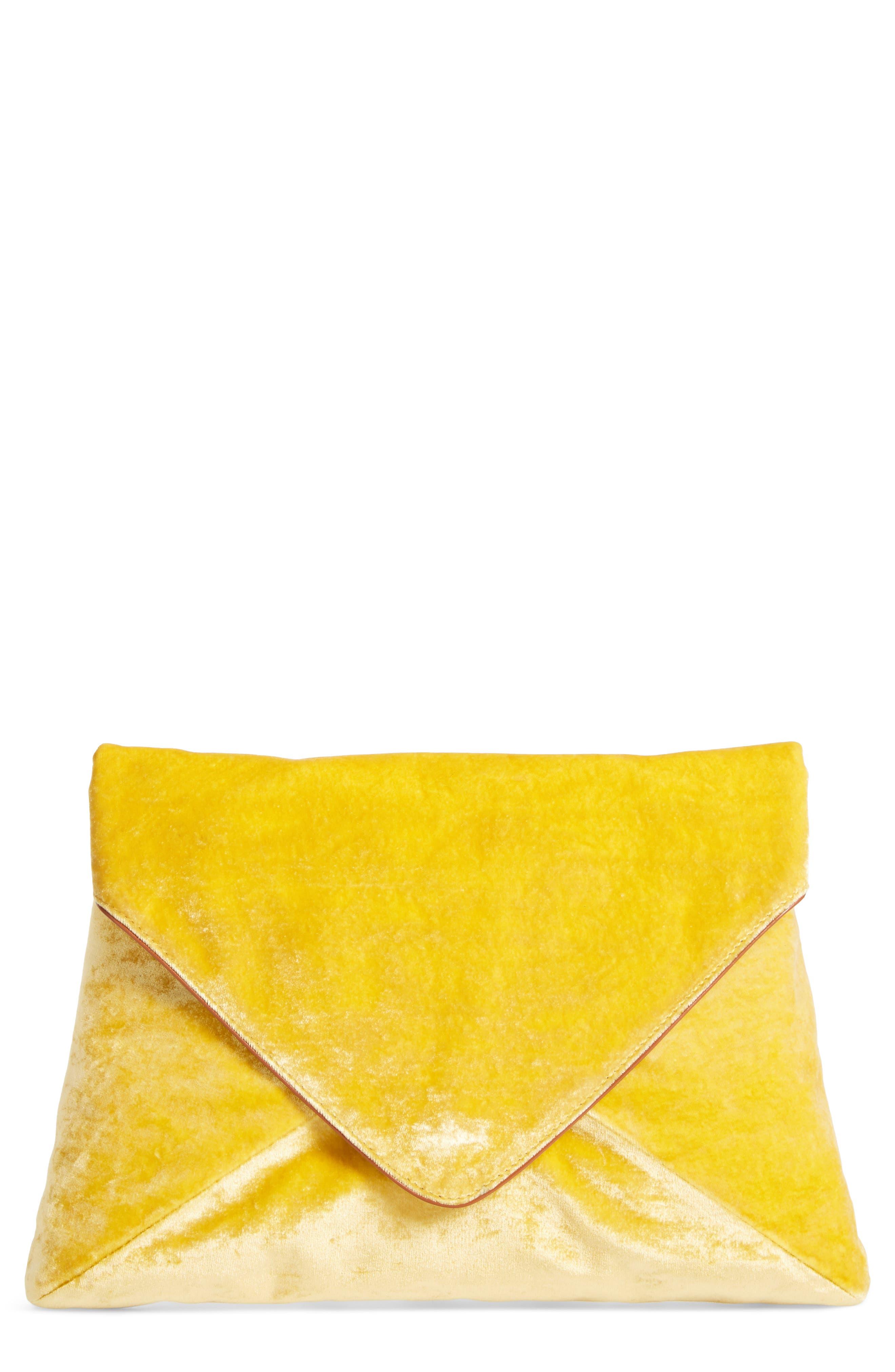 Velvet Envelope Clutch,                             Main thumbnail 1, color,                             Yellow