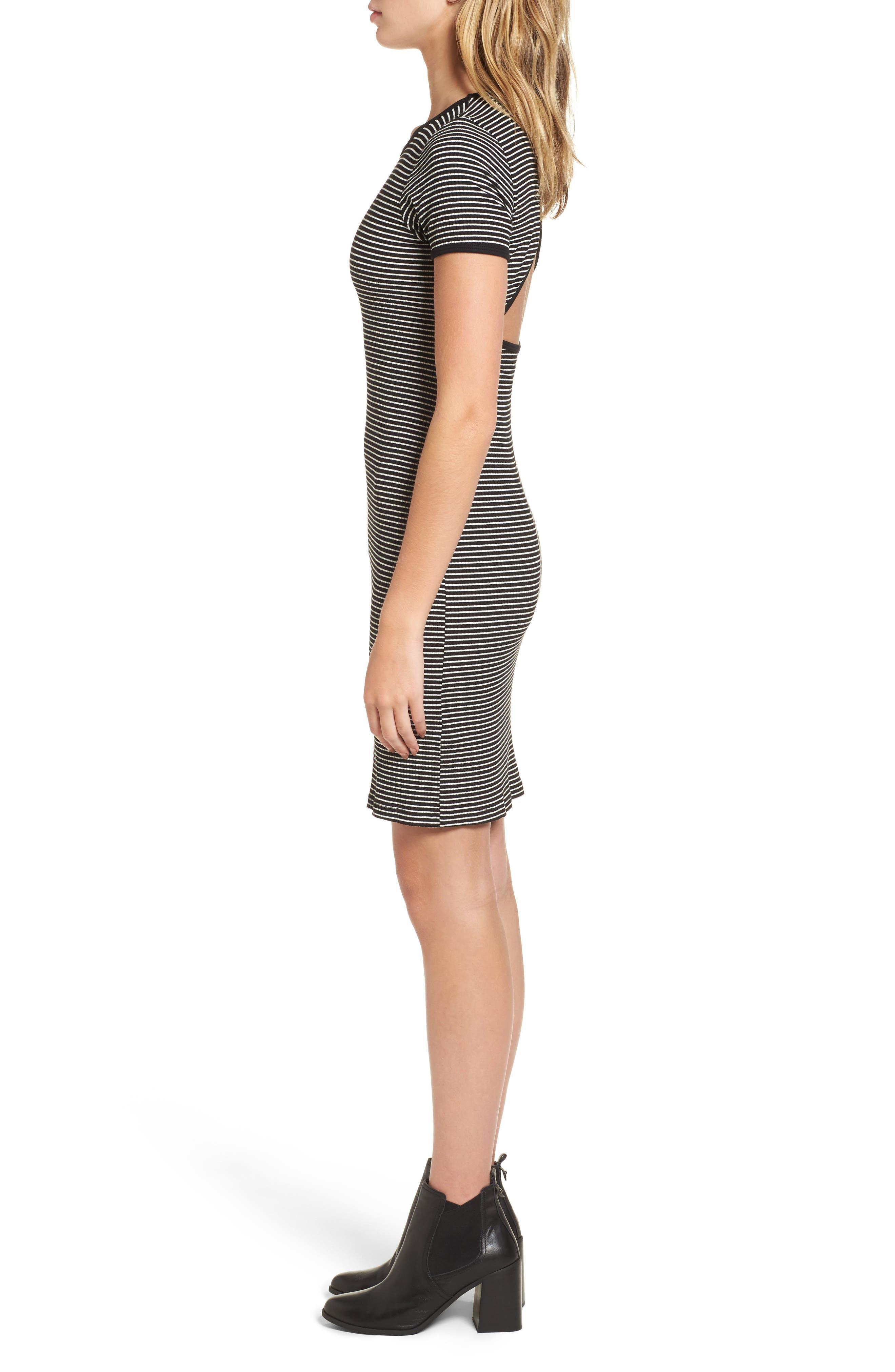 Cutout Stripe T-Shirt Dress,                             Alternate thumbnail 3, color,                             White/ Black