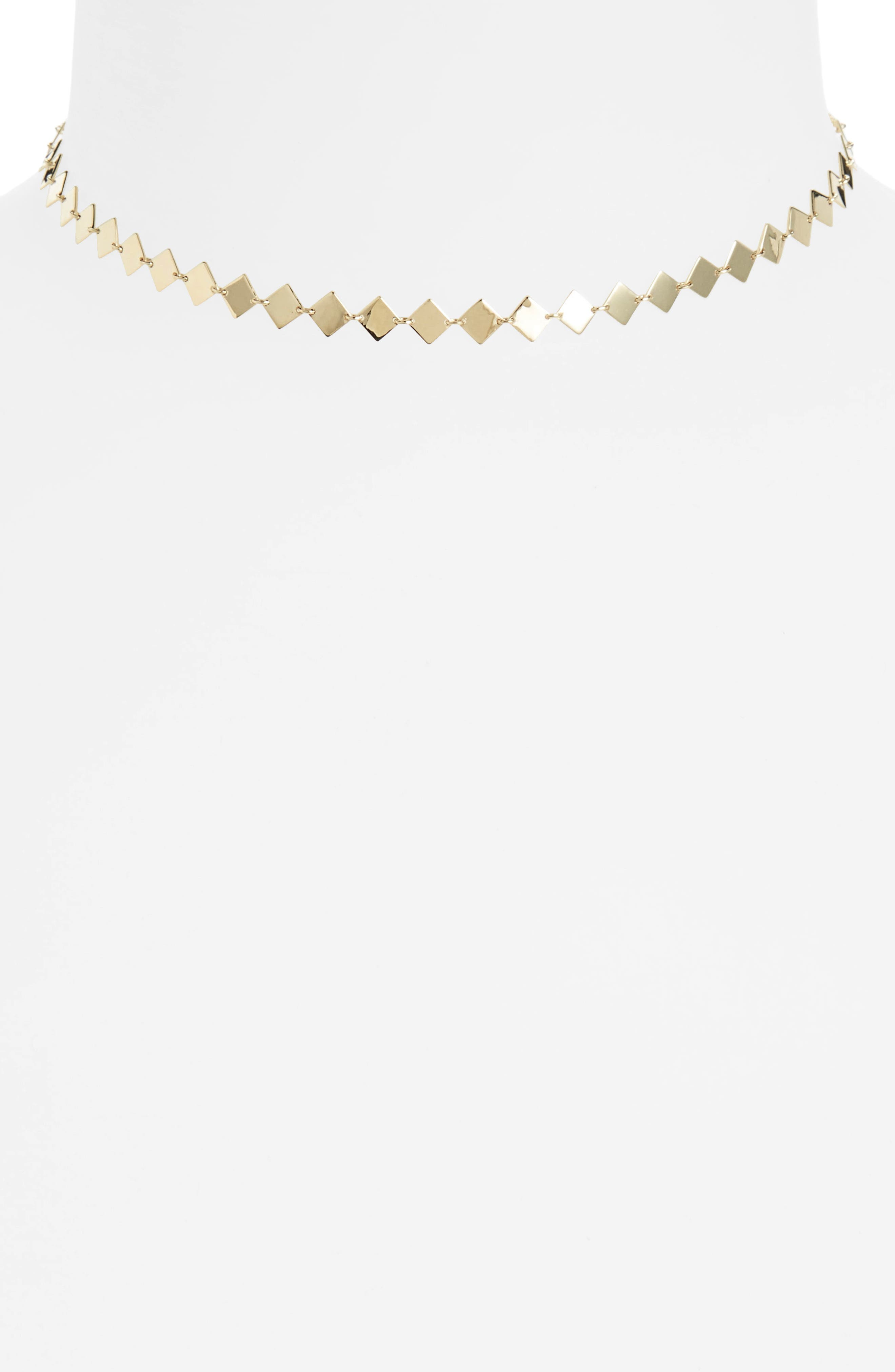 Side Square Choker Necklace,                             Main thumbnail 1, color,                             Yellow Gold