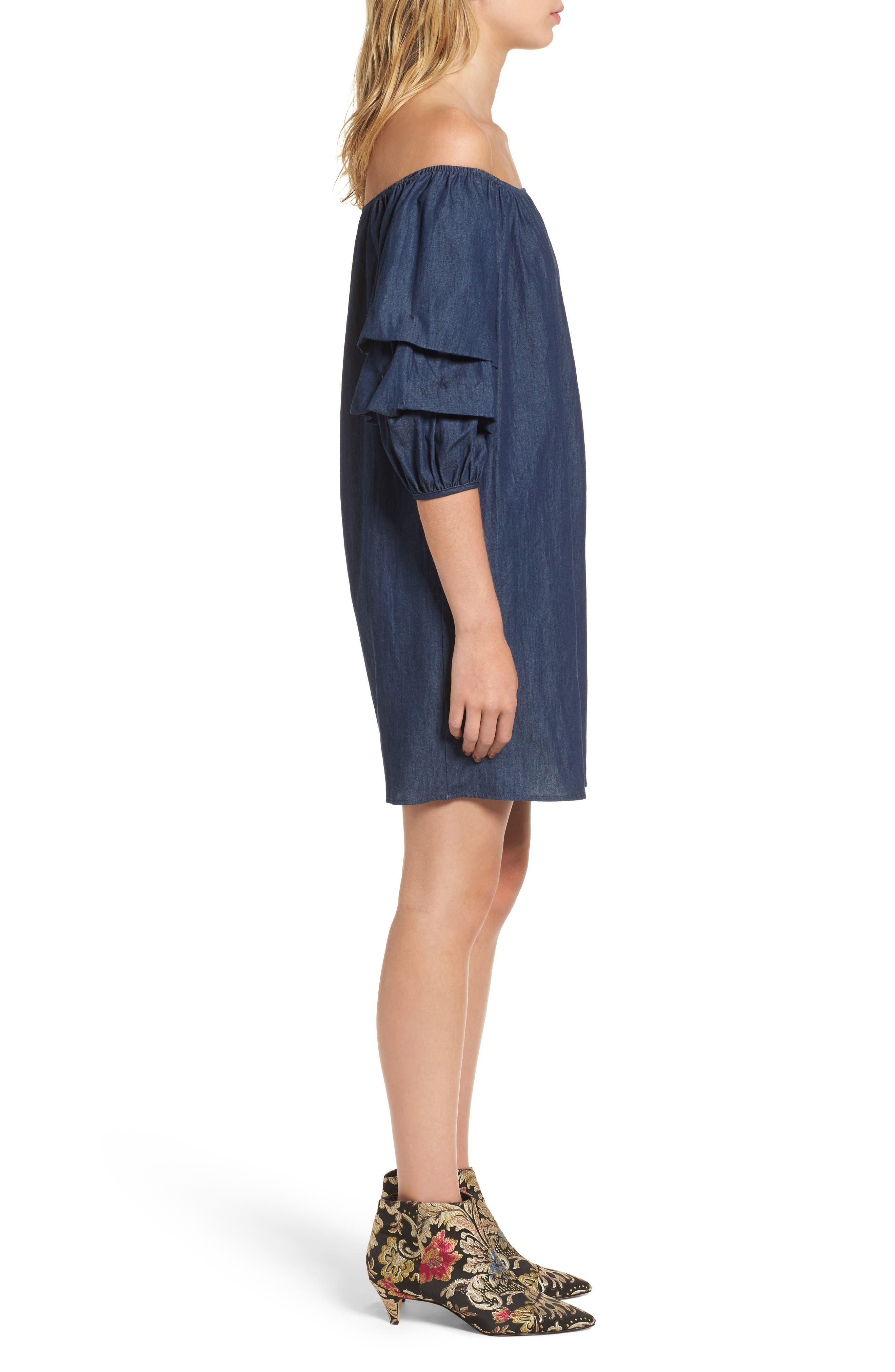 Alternate Image 3  - BP. Off the Shoulder Denim Dress