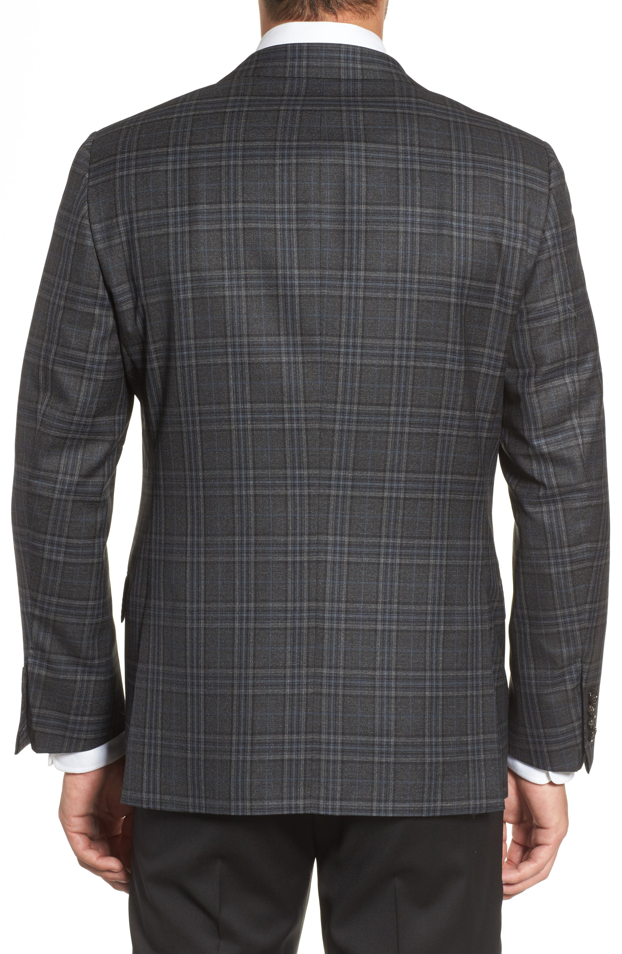 Classic B Fit Plaid Wool Sport Coat,                             Alternate thumbnail 2, color,                             Dark Grey