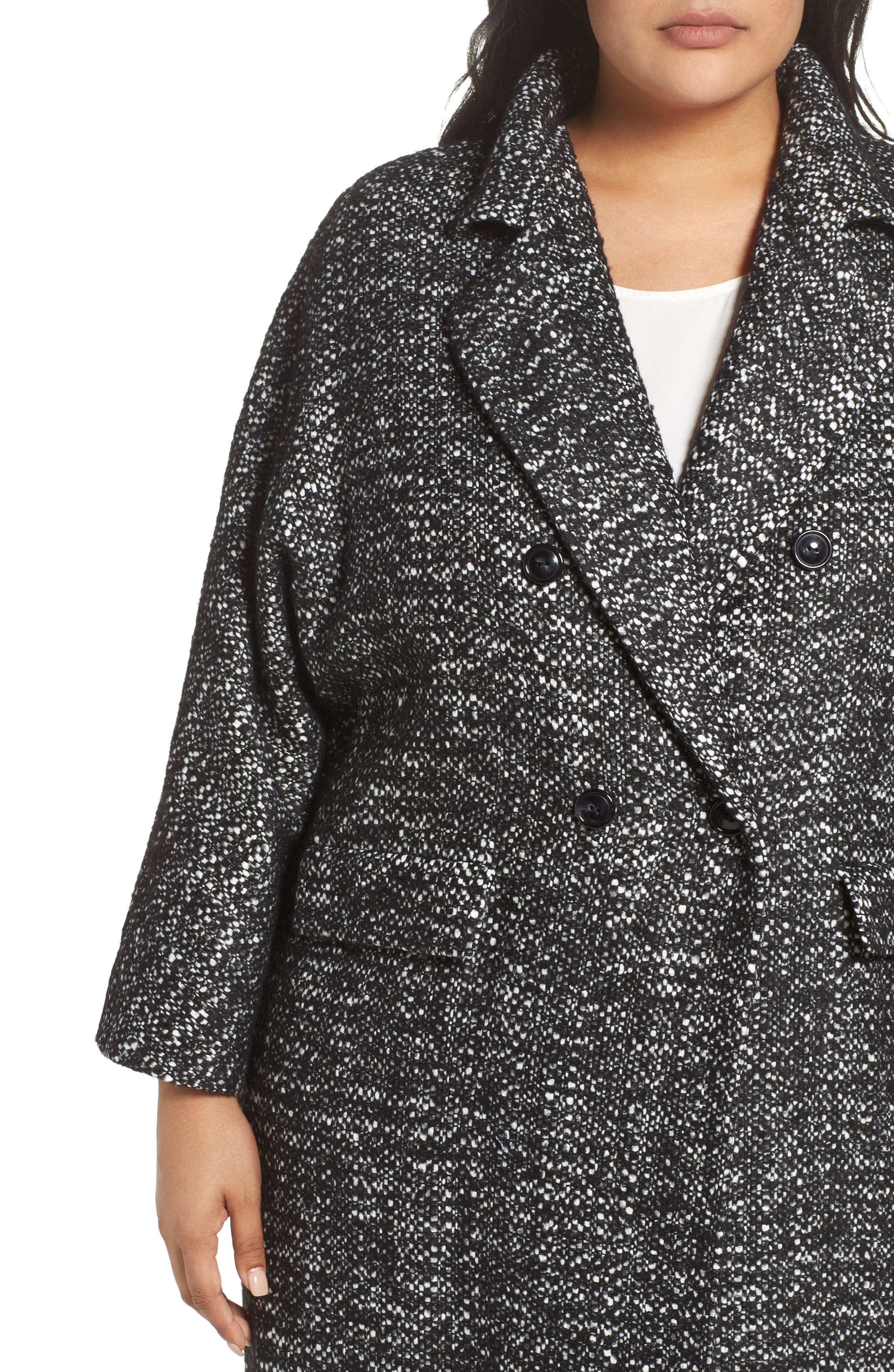Tweed Car Coat,                             Alternate thumbnail 4, color,                             Black
