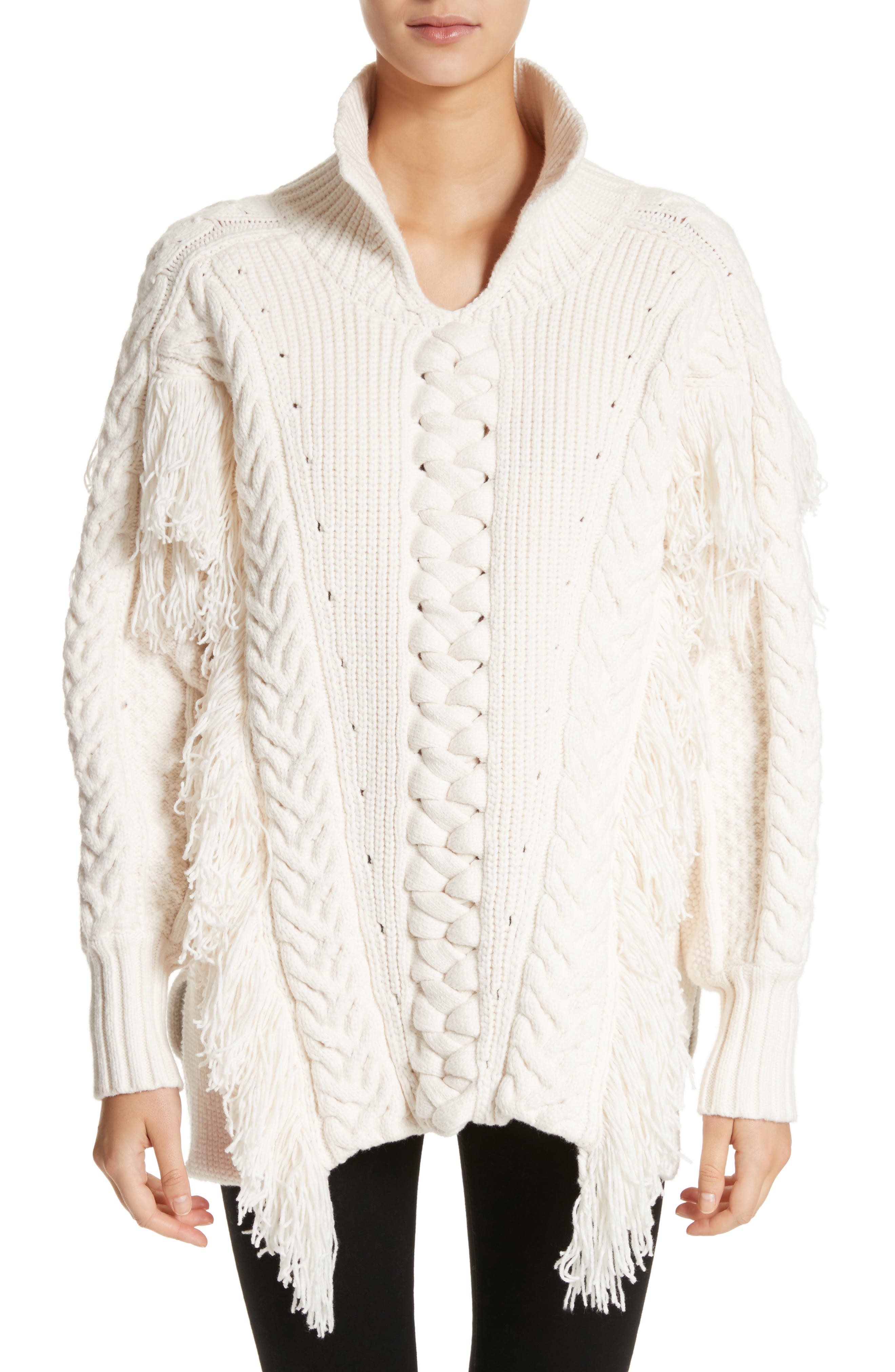 Borbore Fringed Cable Knit Sweater,                         Main,                         color, Natural White