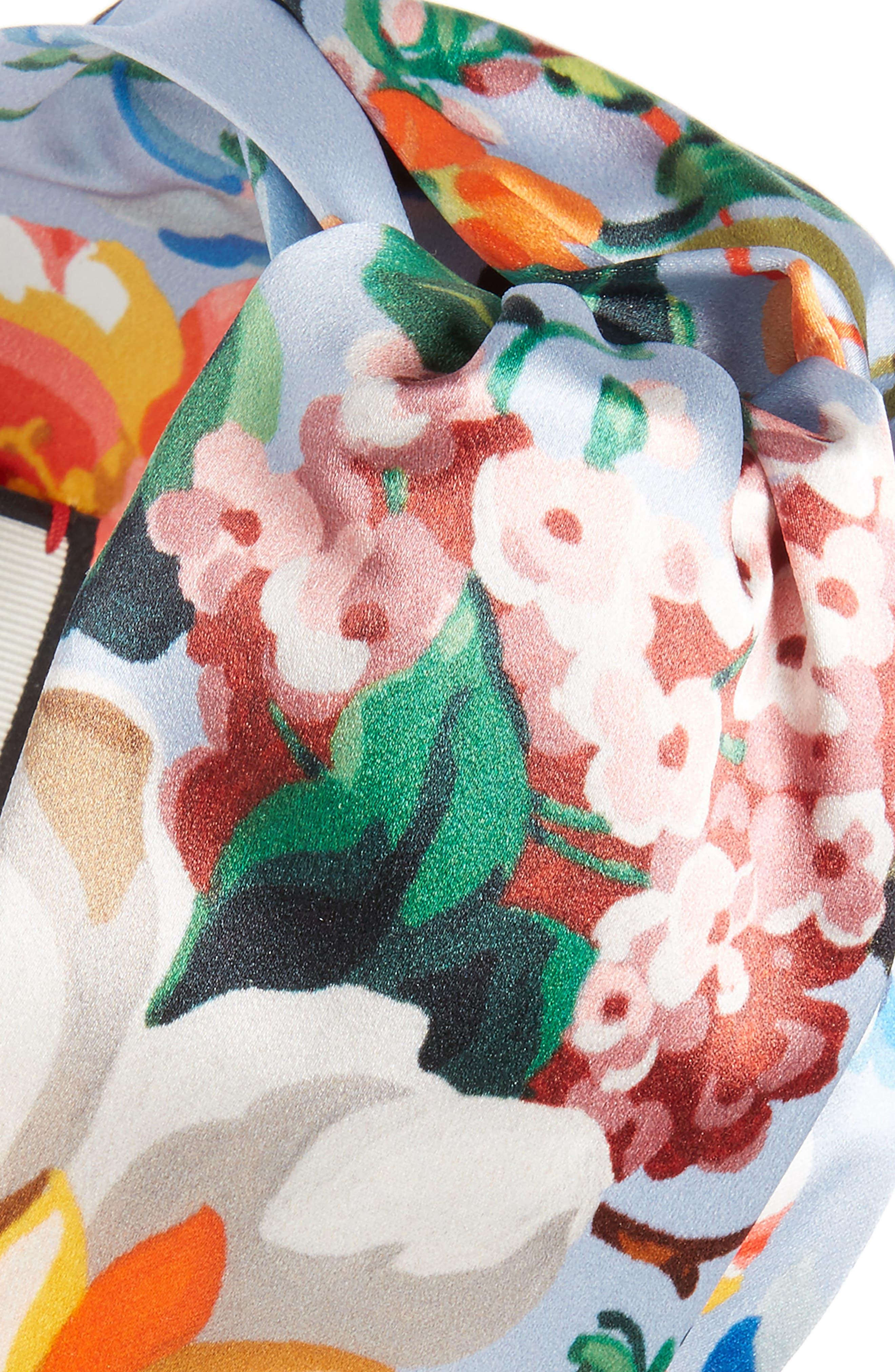Josif Flower Print Silk Headband,                             Alternate thumbnail 2, color,                             Sky Blue/ Pink
