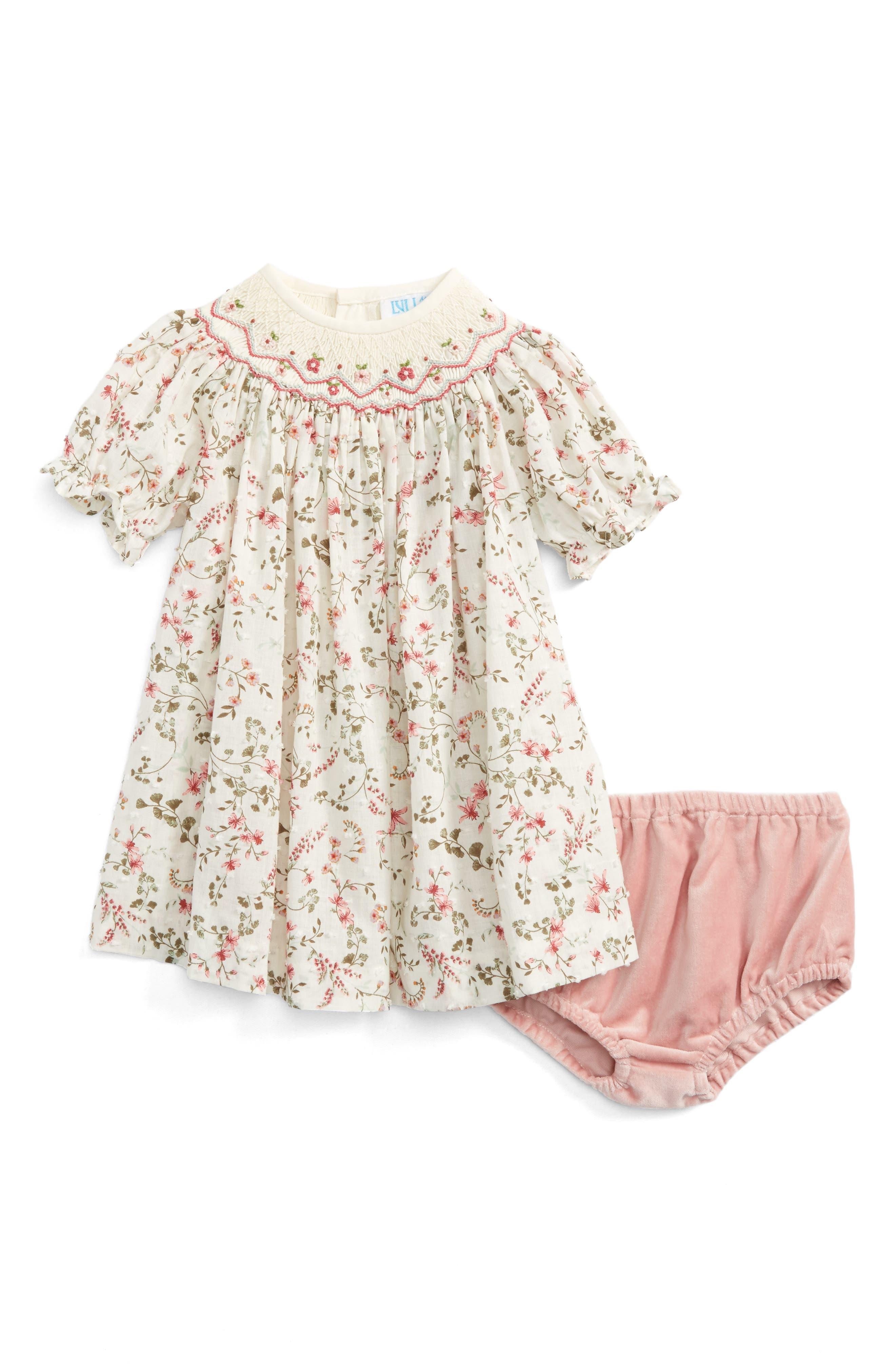 Luli & Me Floral Print Plumetis Bishop Dress (Baby Girls)