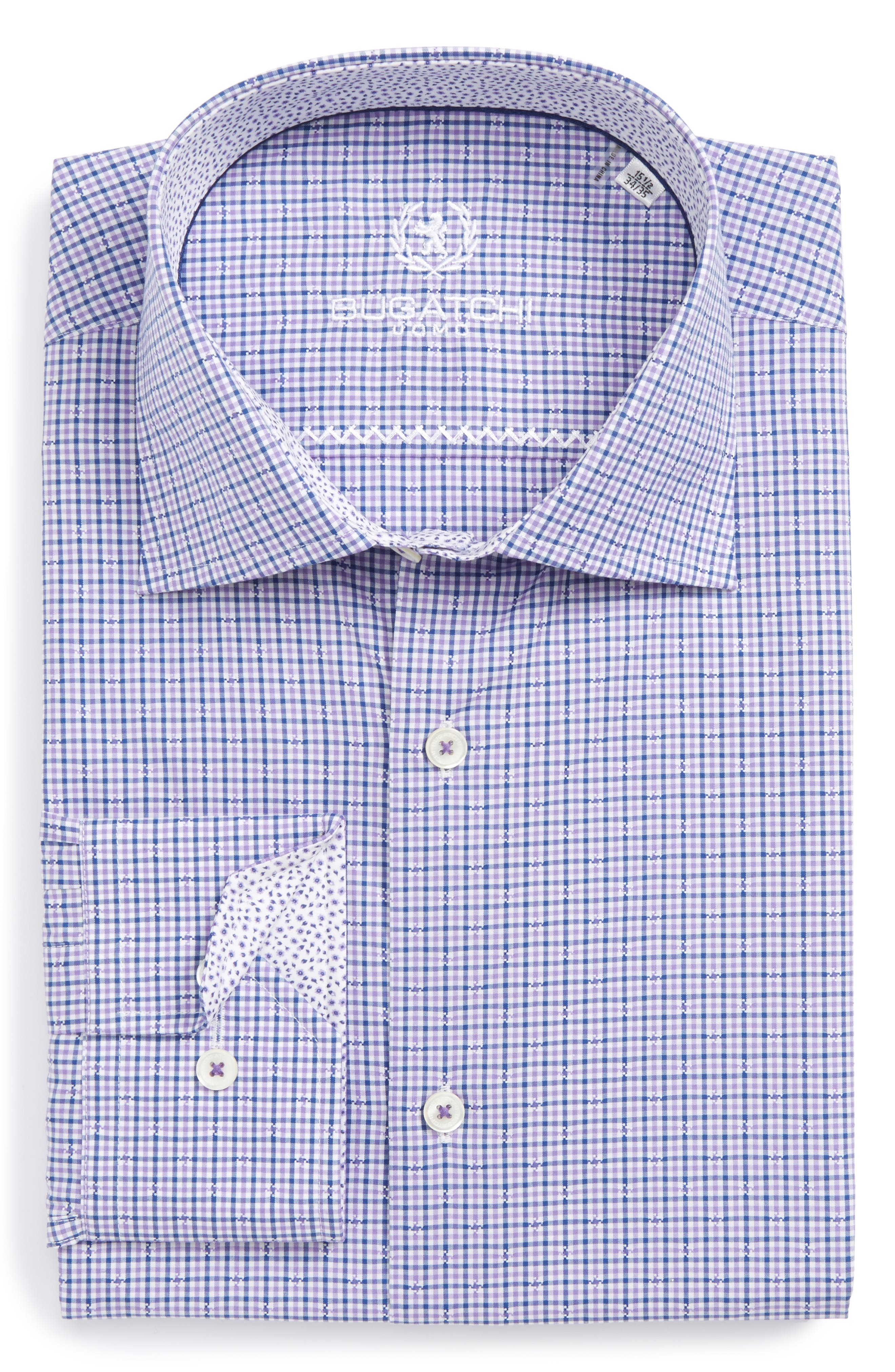 Bugatchi Trim Fit Check Dress Shirt
