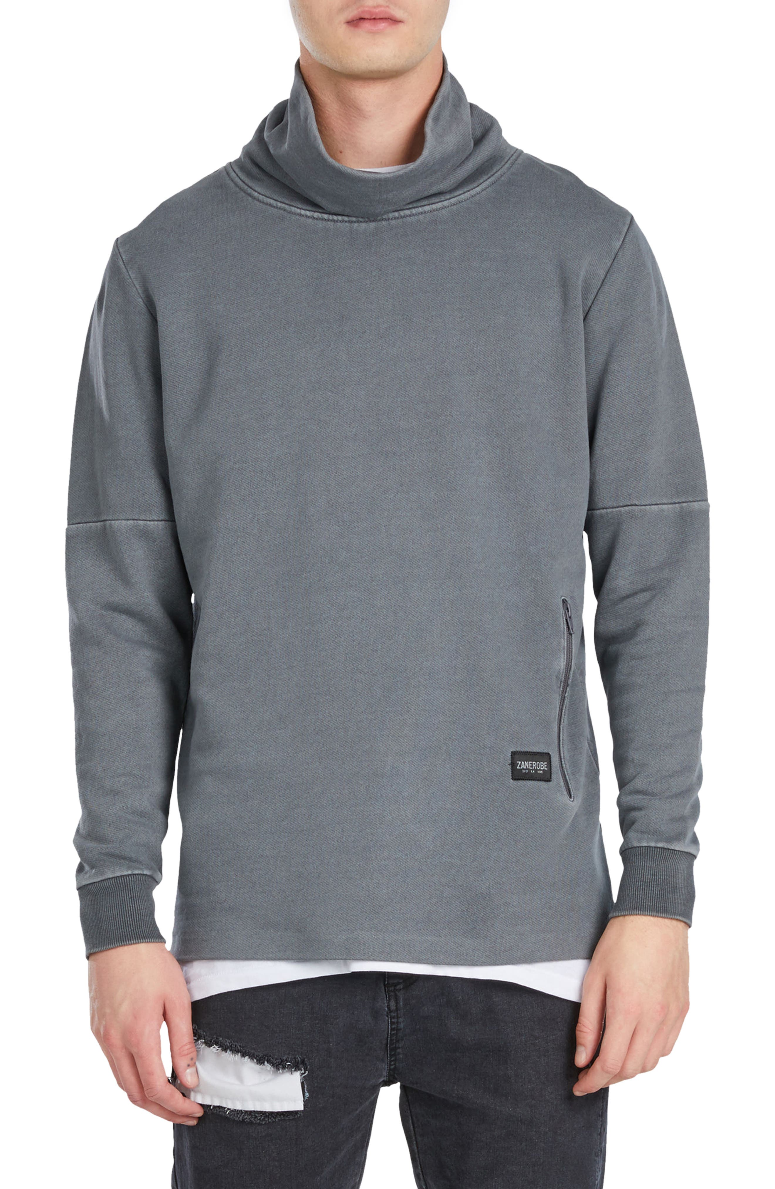 Mock Neck Sweatshirt,                         Main,                         color, Grey